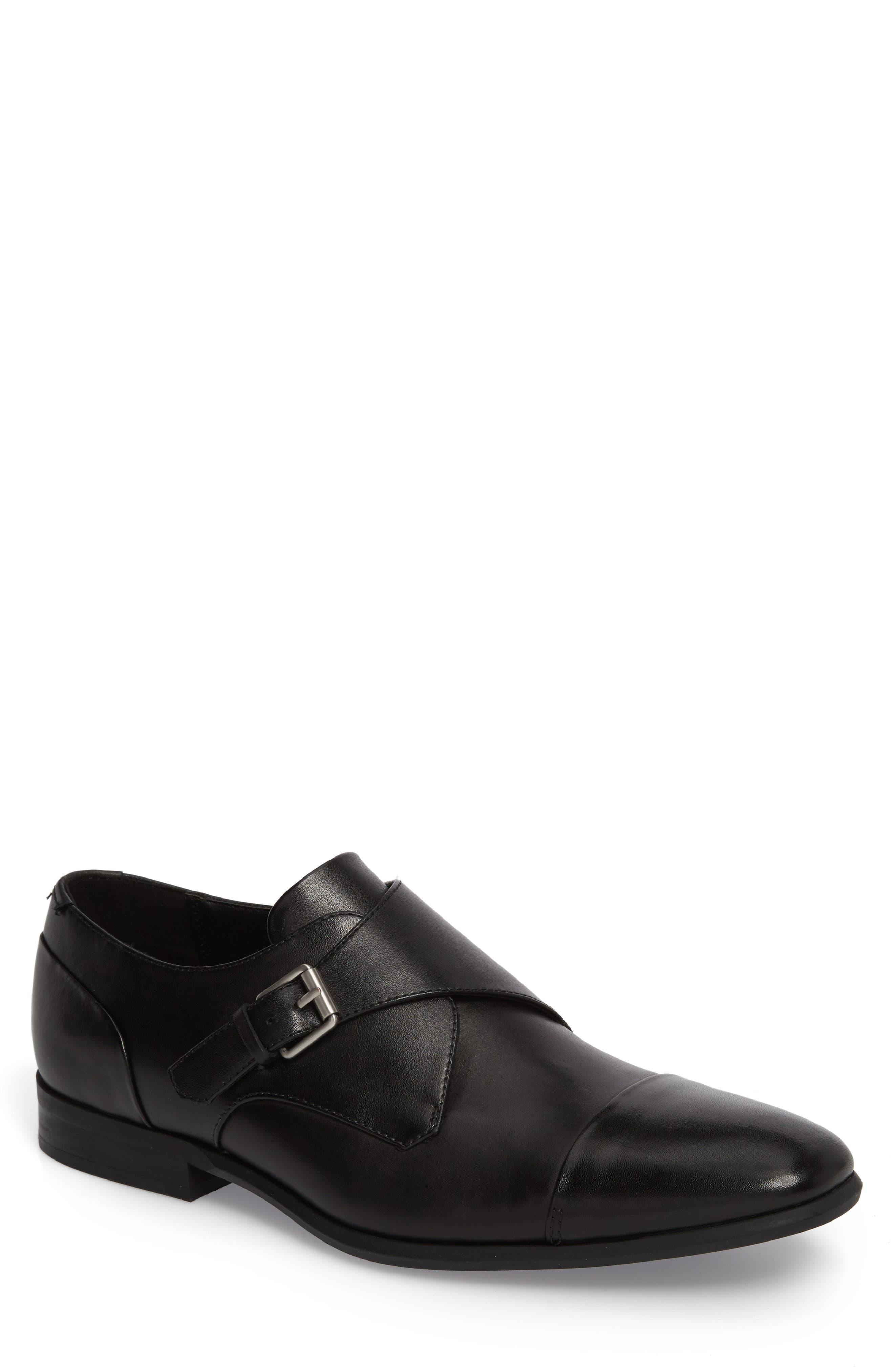 Lucus Monk Strap Shoe,                             Main thumbnail 1, color,                             Black Leather