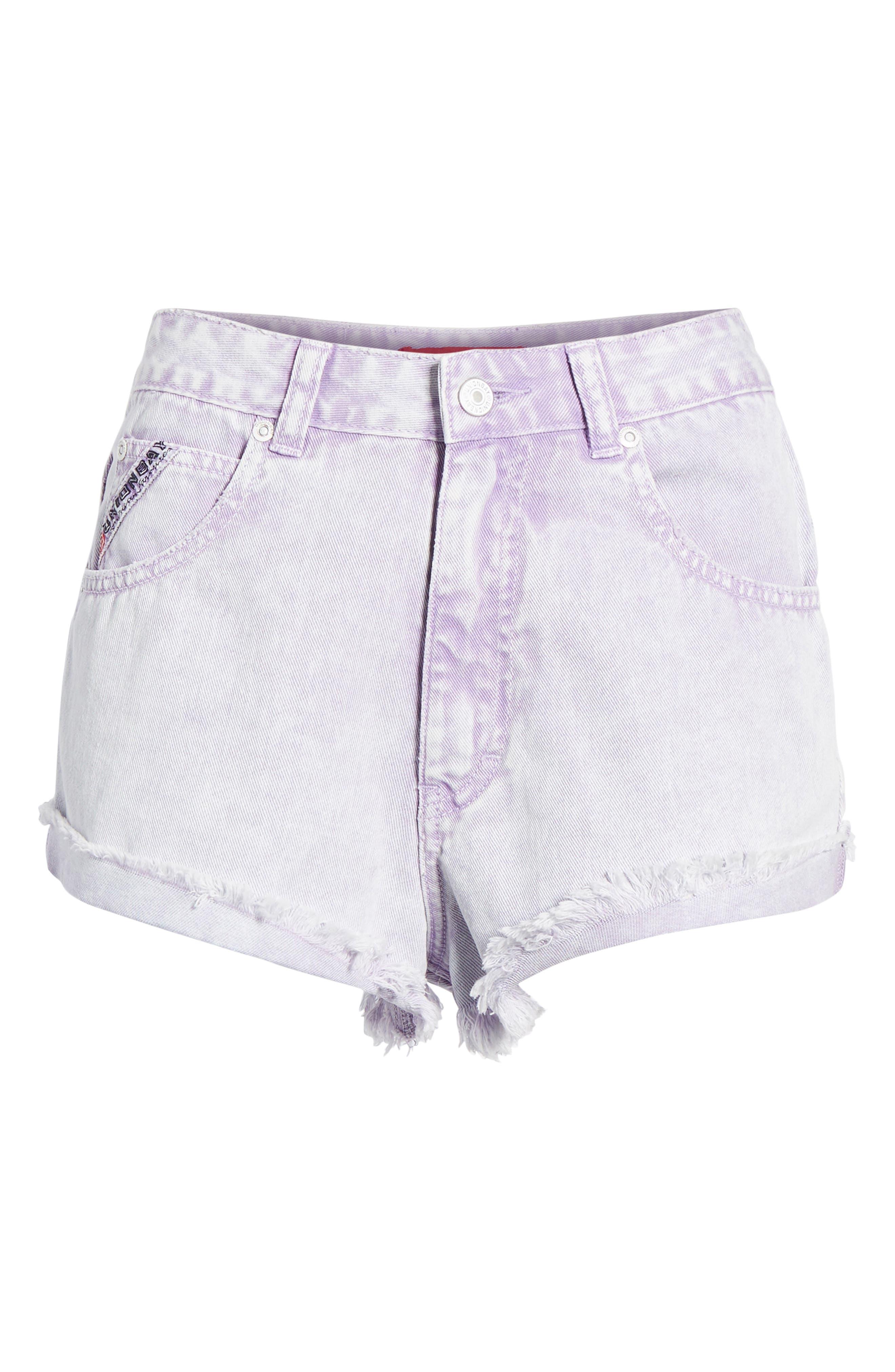 Unionbay Devo Acid Wash Denim Shorts,                             Alternate thumbnail 6, color,                             Ultra Lilac