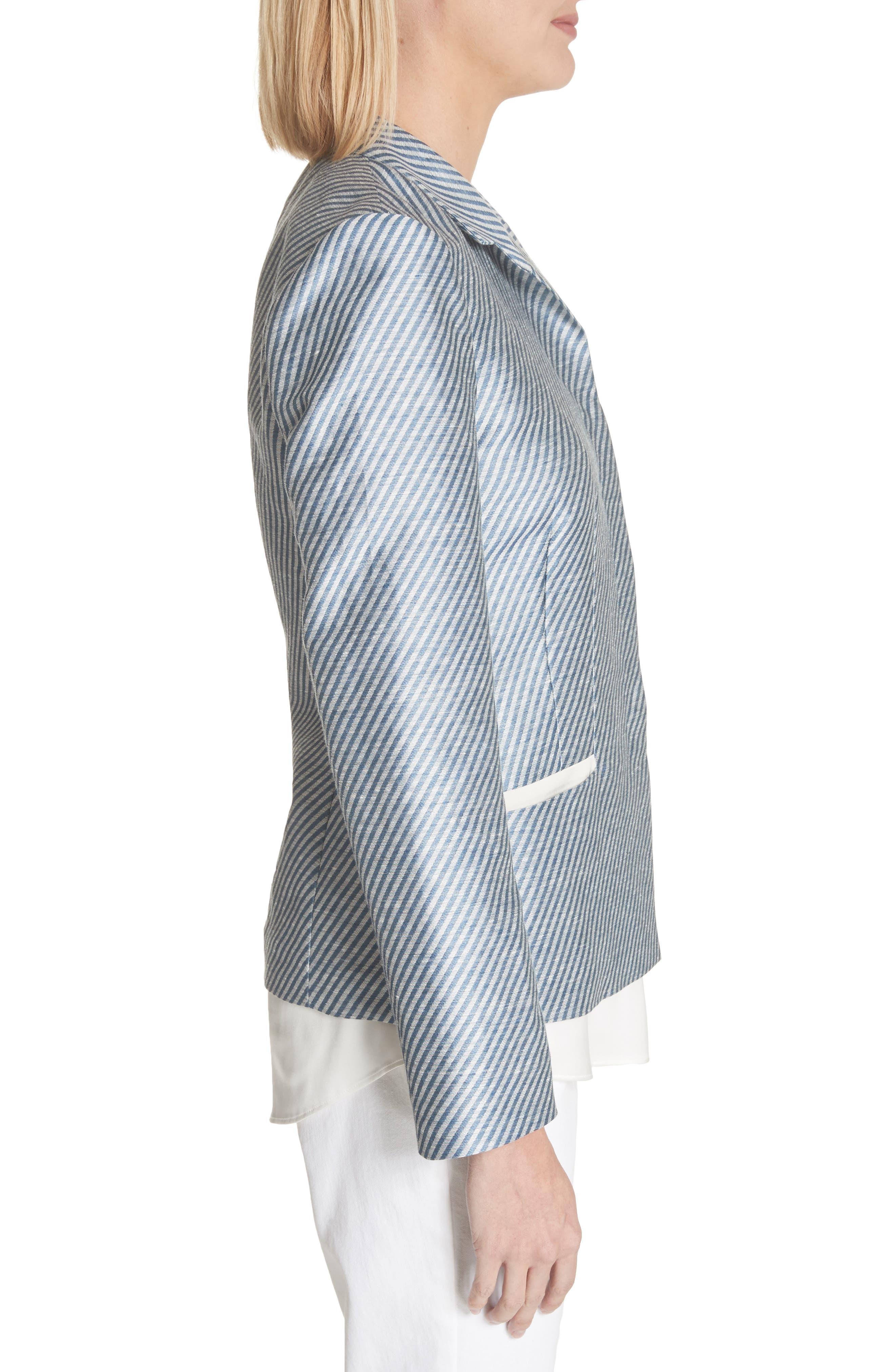 Alternate Image 3  - Lafayette 148 New York Jasmine Stripe Linen Blend Blazer