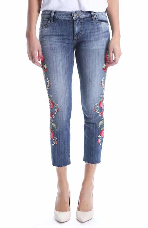 KUT from the Kloth Reese Embroidered Straight Leg Raw Hem Jeans (Rectified)