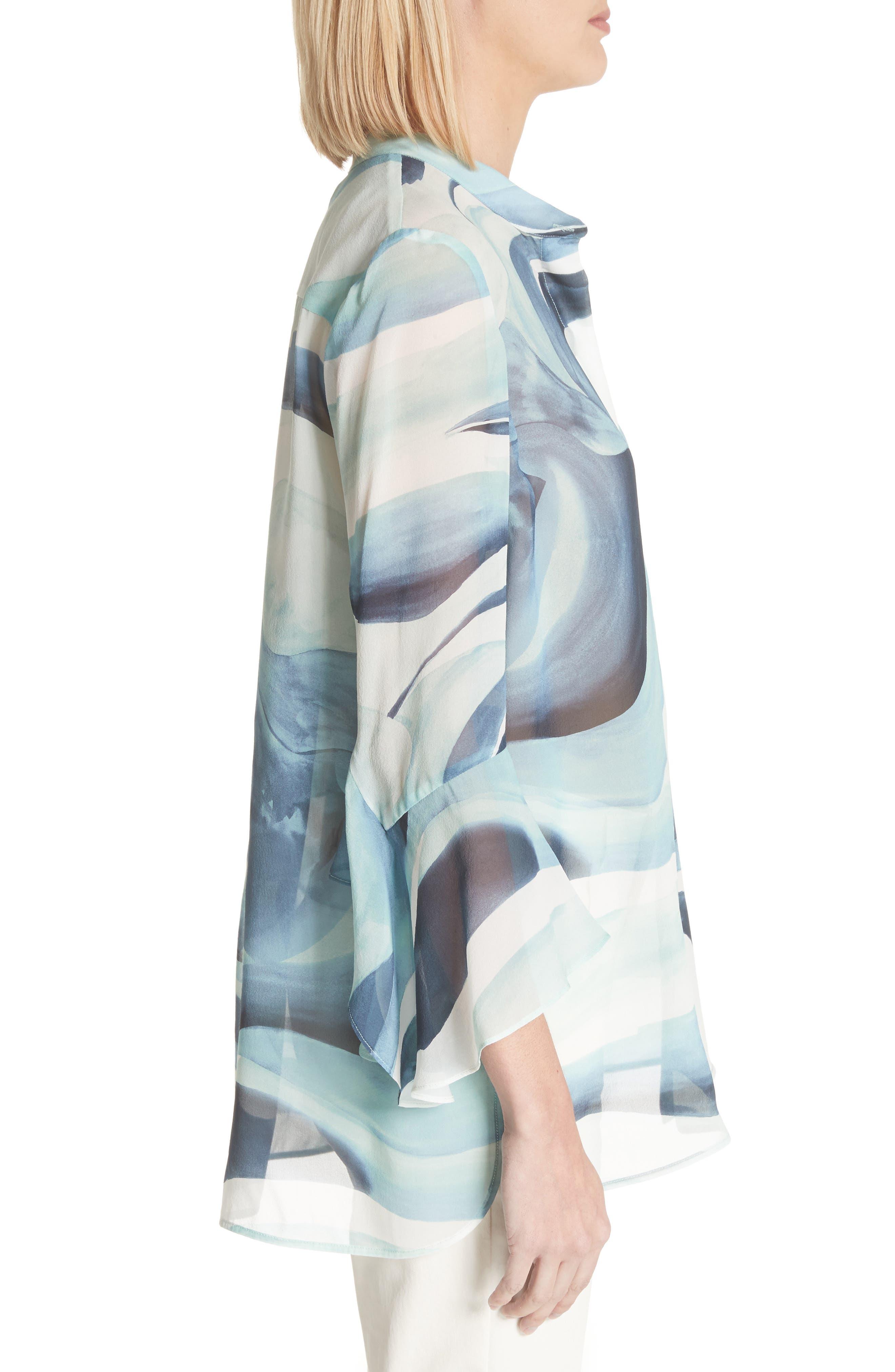 Graydon Print Silk Chiffon Blouse,                             Alternate thumbnail 3, color,                             Herbal Mist Multi