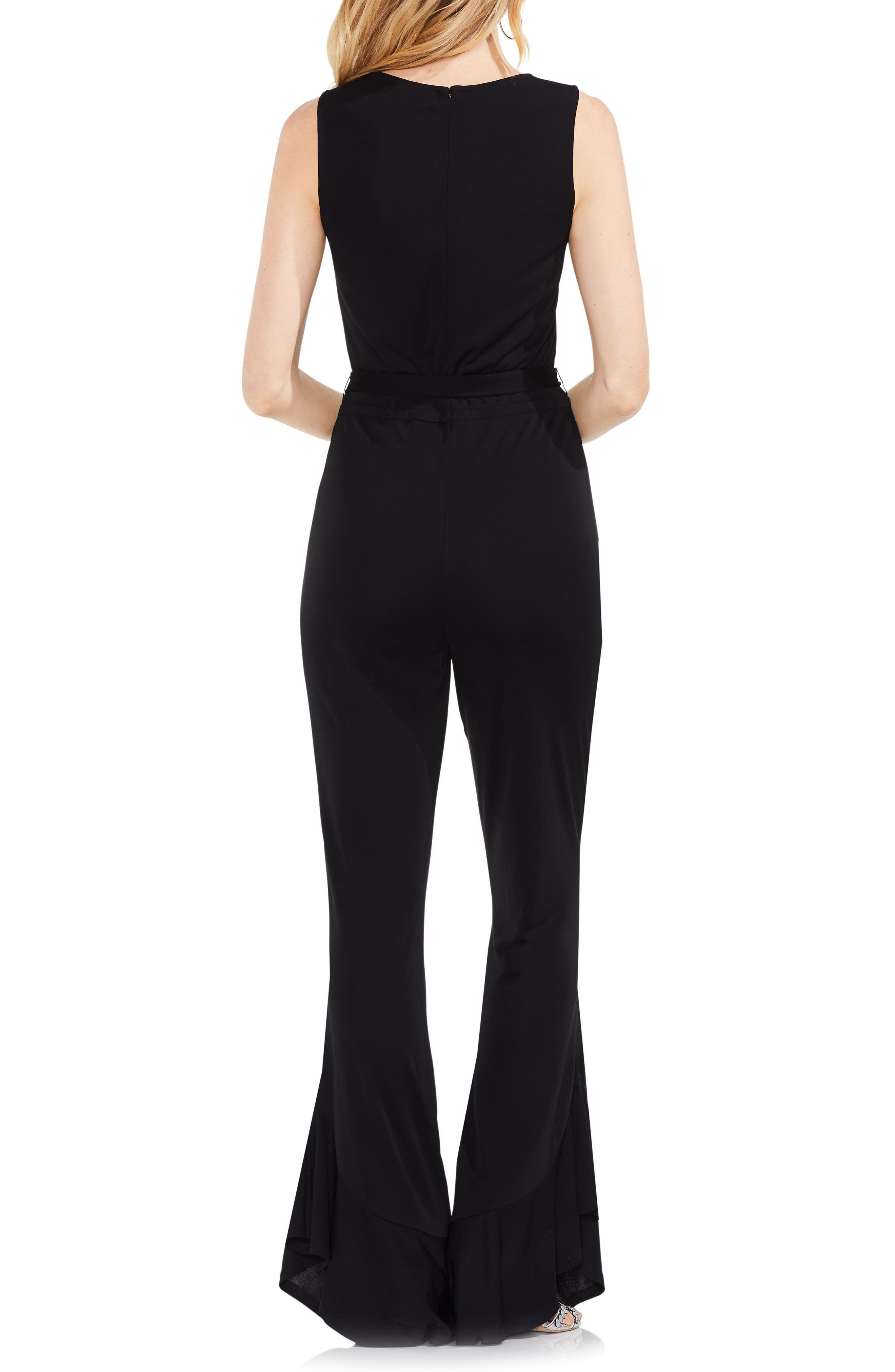 Sleeveless Belted Jumpsuit,                             Alternate thumbnail 2, color,                             Rich Black
