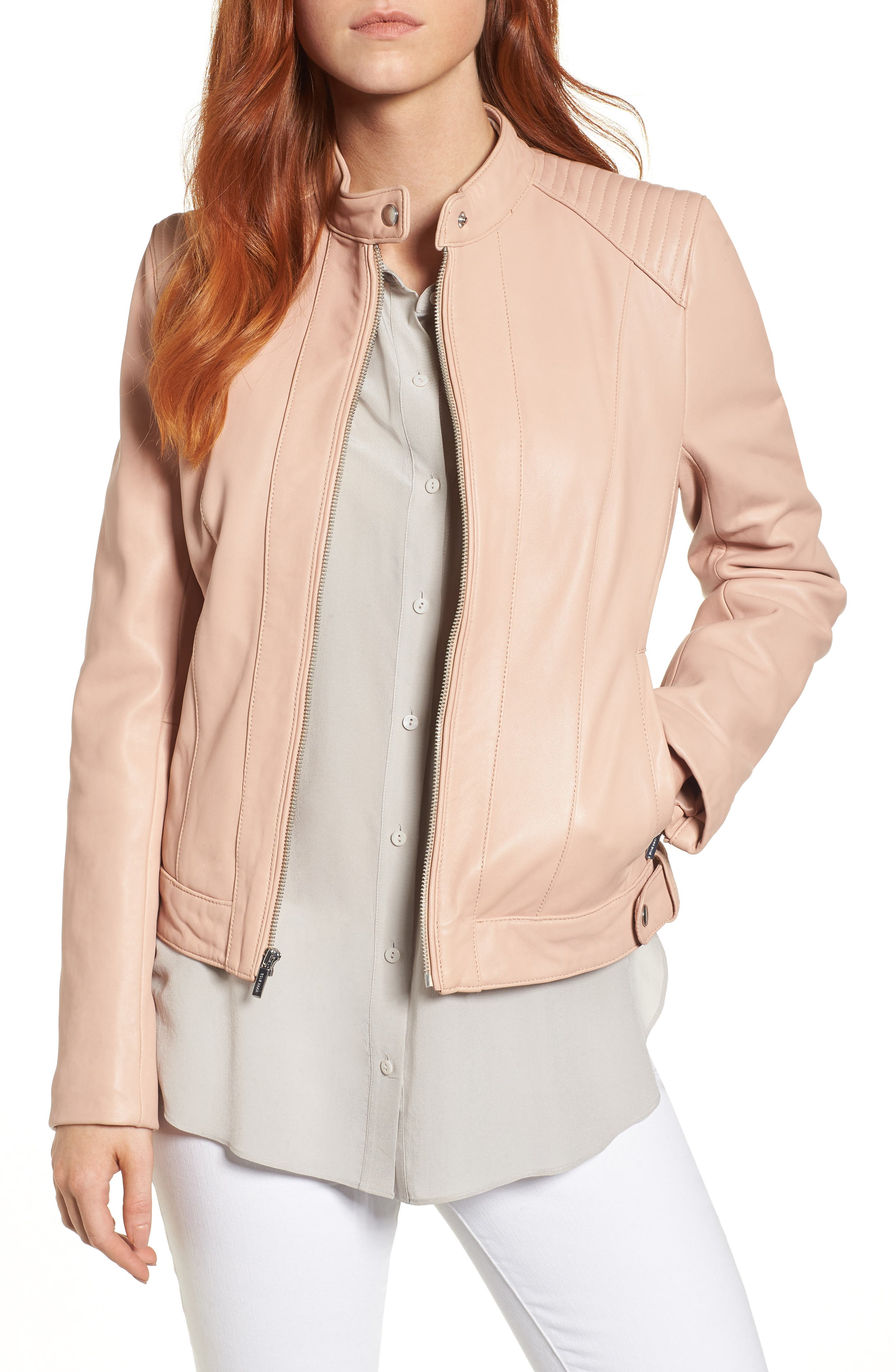Alternate Image 1 Selected - Cole Haan Leather Moto Jacket (Regular & Petite)