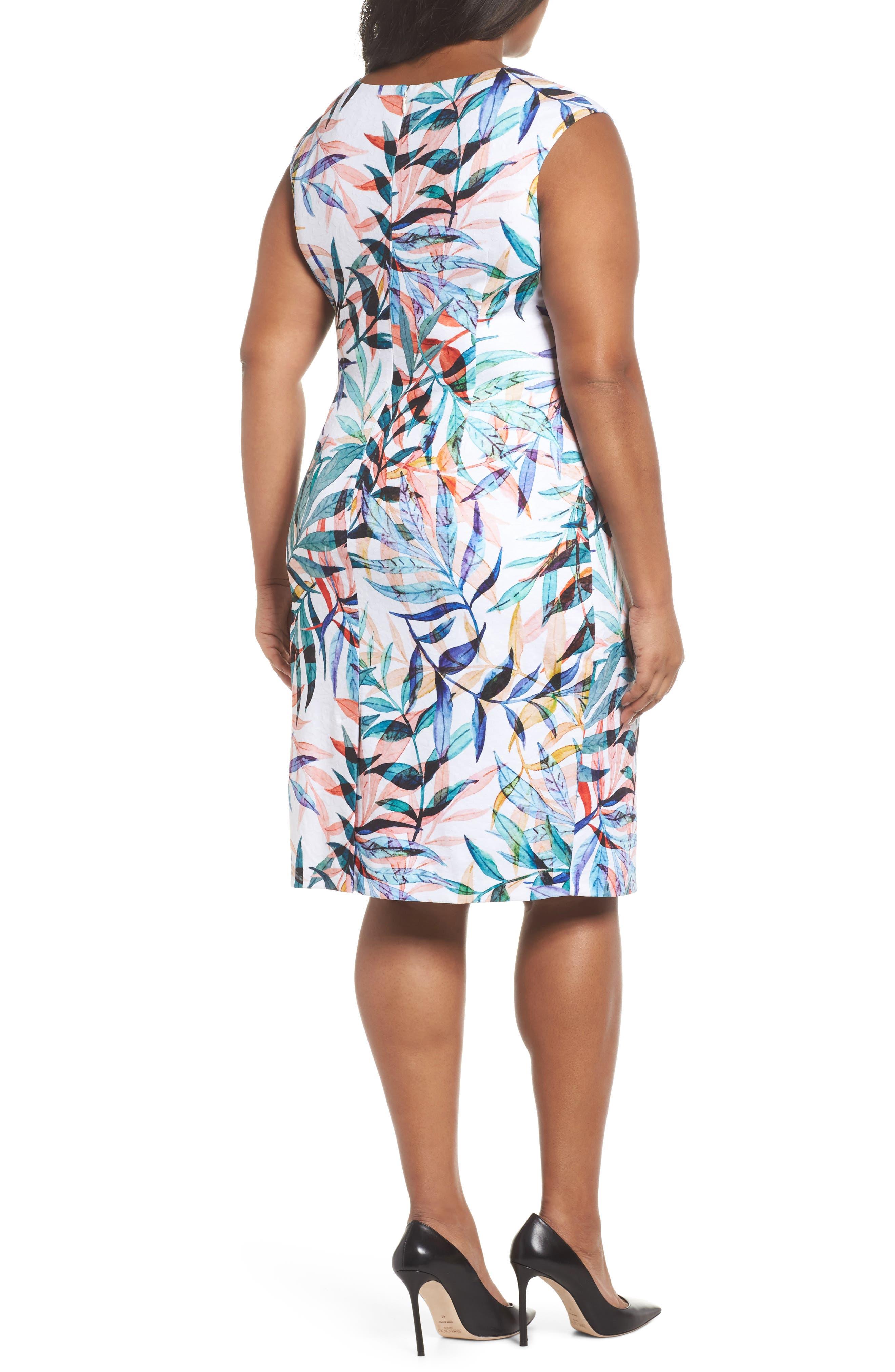 Watercolor Leaves Sheath Dress,                             Alternate thumbnail 2, color,                             Ivory Multi