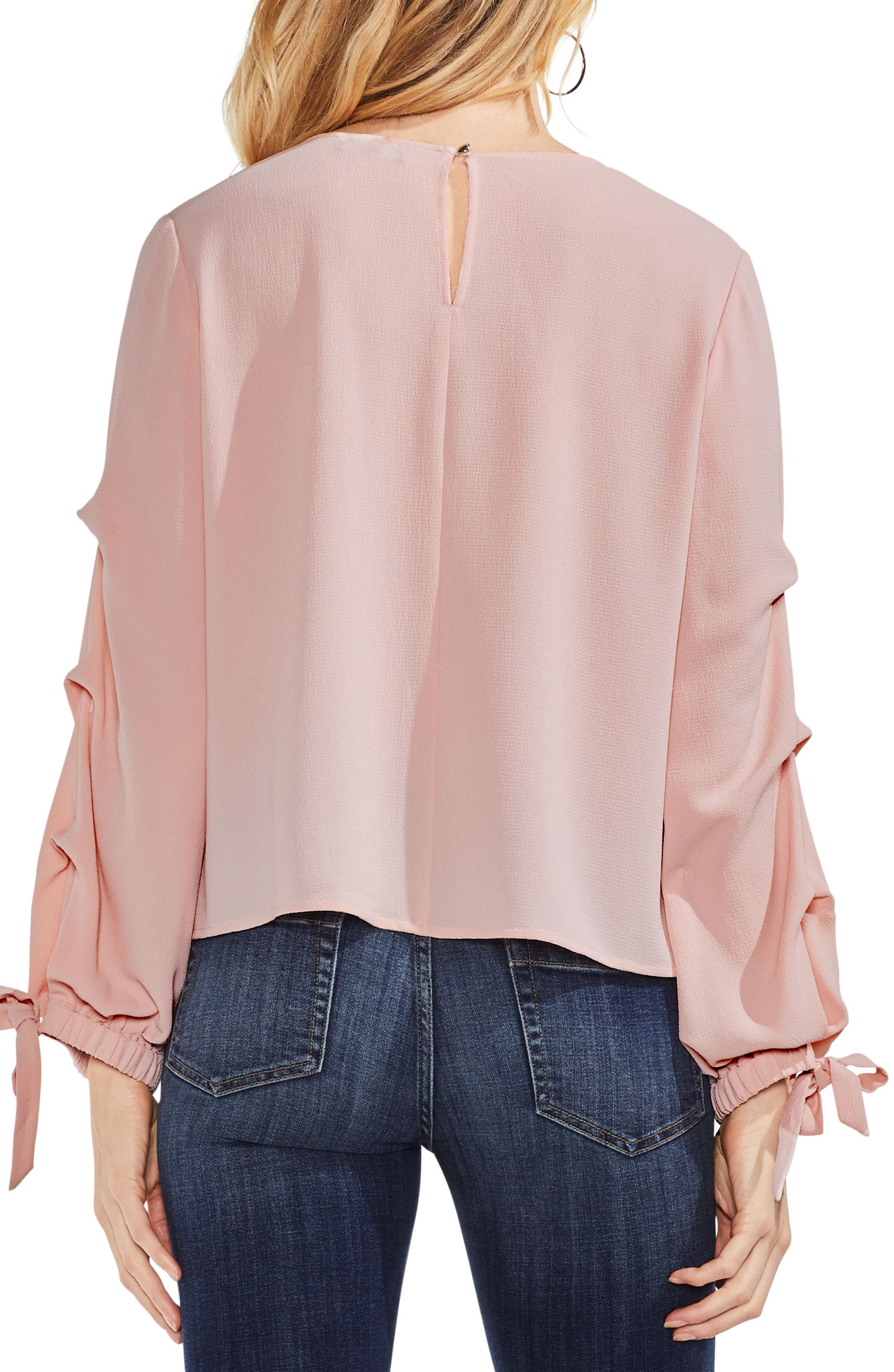 Tiered Tie Cuff Crepe Blouse,                             Alternate thumbnail 2, color,                             Wild Rose