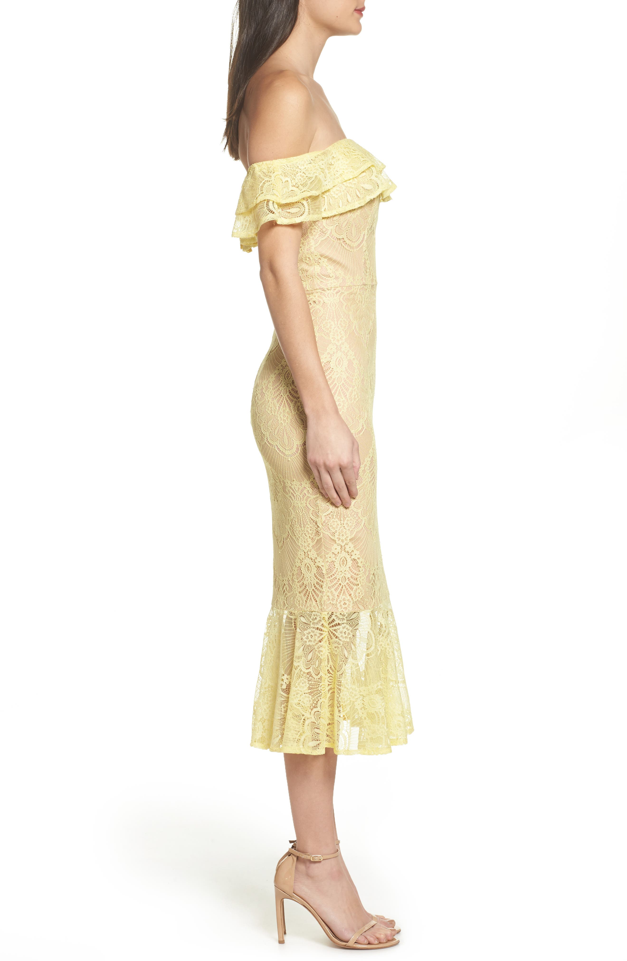 Toril Off the Shoulder Lace Midi Dress,                             Alternate thumbnail 3, color,                             Yellow