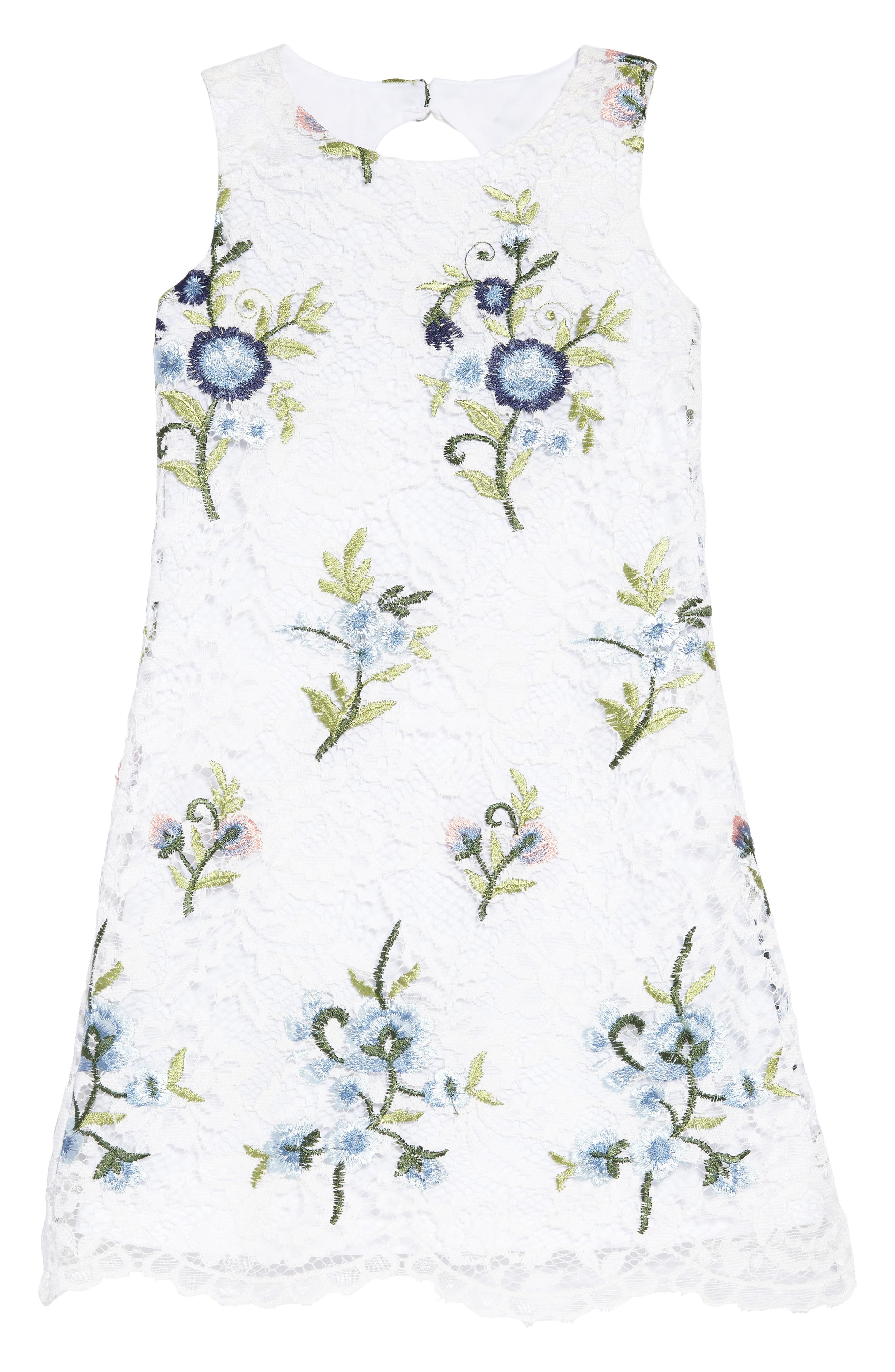 Embroidered Floral Shift Dress,                         Main,                         color, White