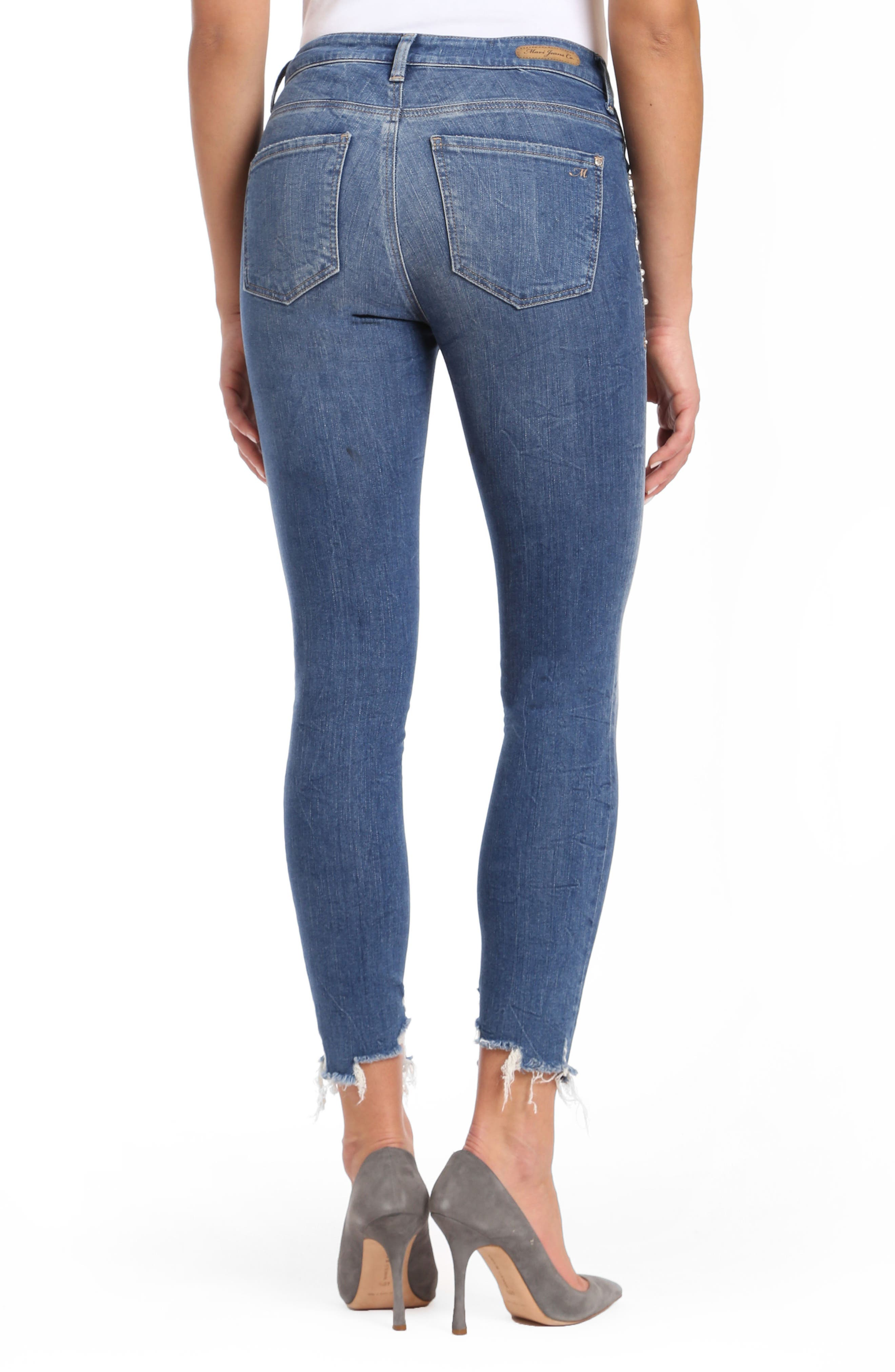 Tess Faux Pearl Skinny Jeans,                             Alternate thumbnail 2, color,                             Indigo Pearl