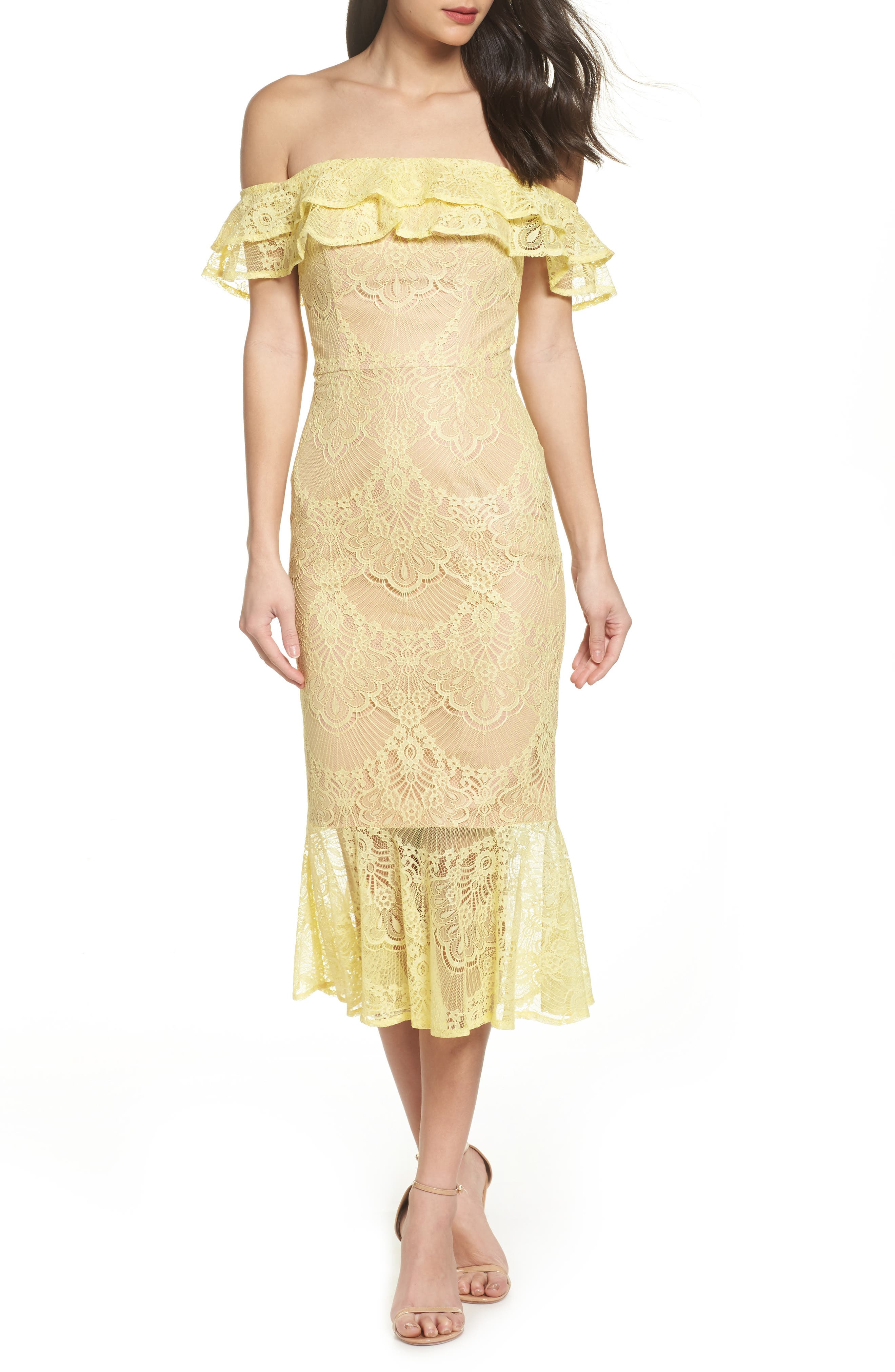 Toril Off the Shoulder Lace Midi Dress,                             Main thumbnail 1, color,                             Yellow
