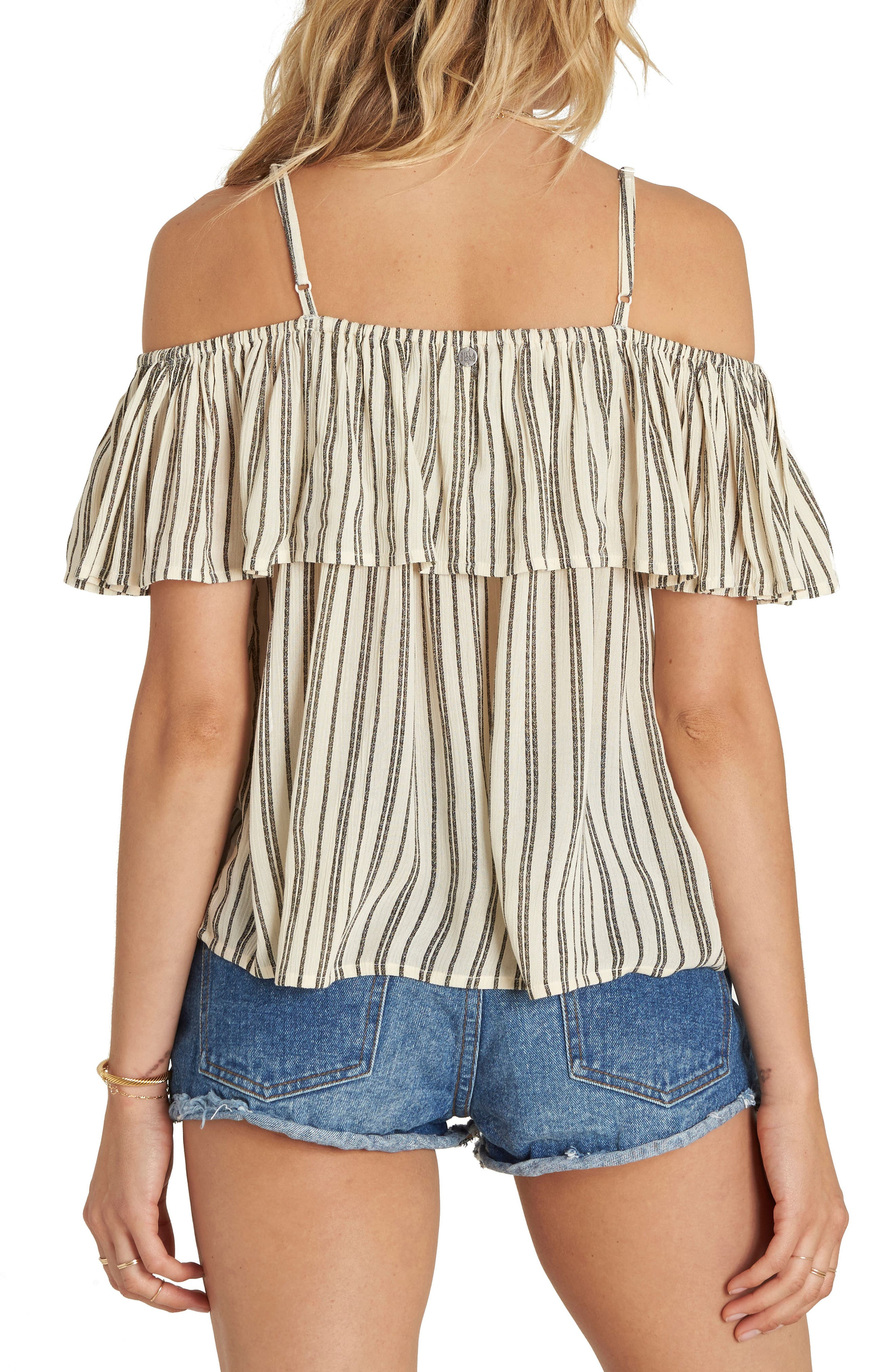 Summer Sunsets Ruffle Off the Shoulder Top,                             Alternate thumbnail 2, color,                             White Cap