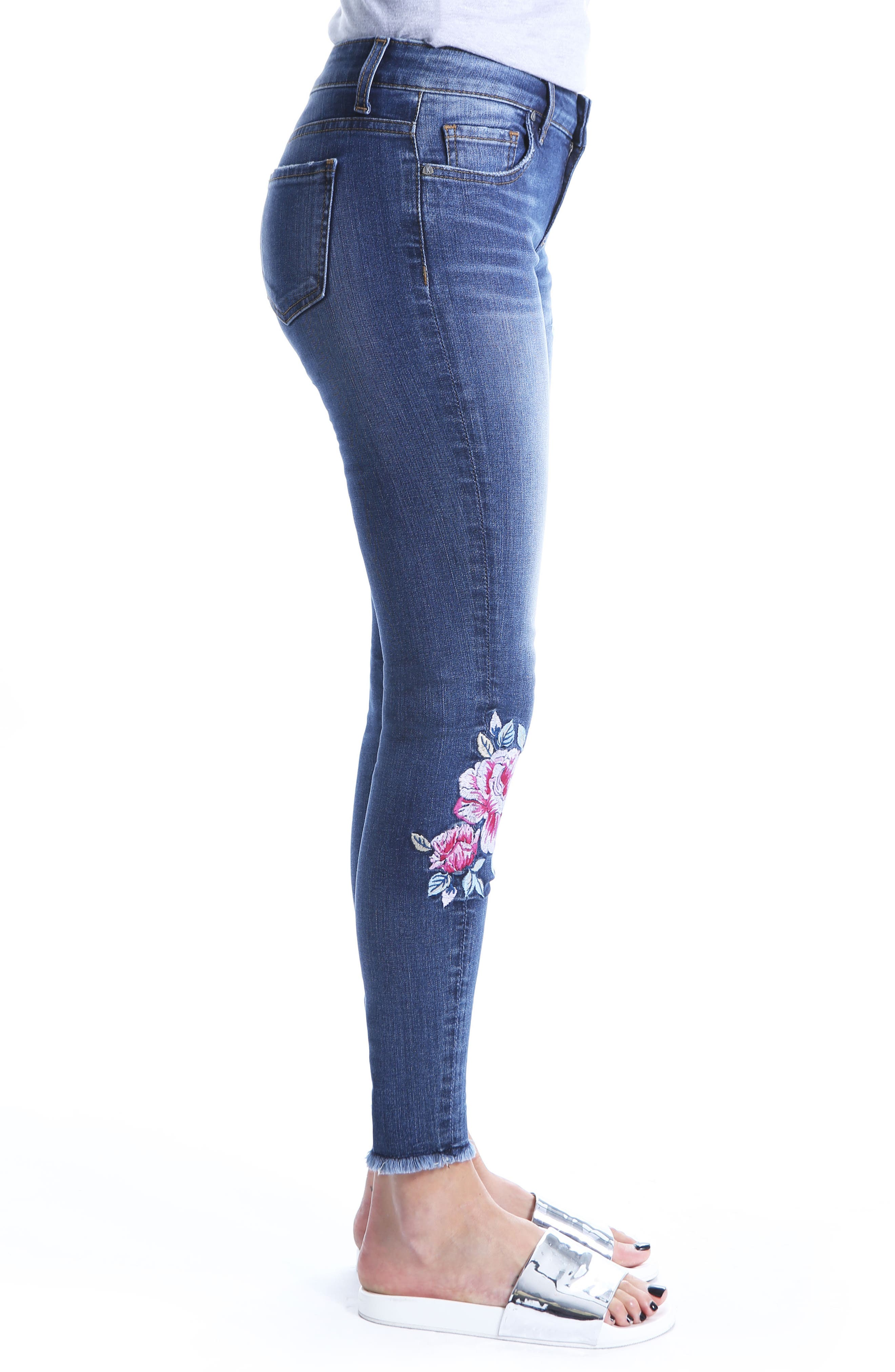 Connie Embroided Frayed Hem Ankle Skinny Jeans,                             Alternate thumbnail 3, color,                             Assigned