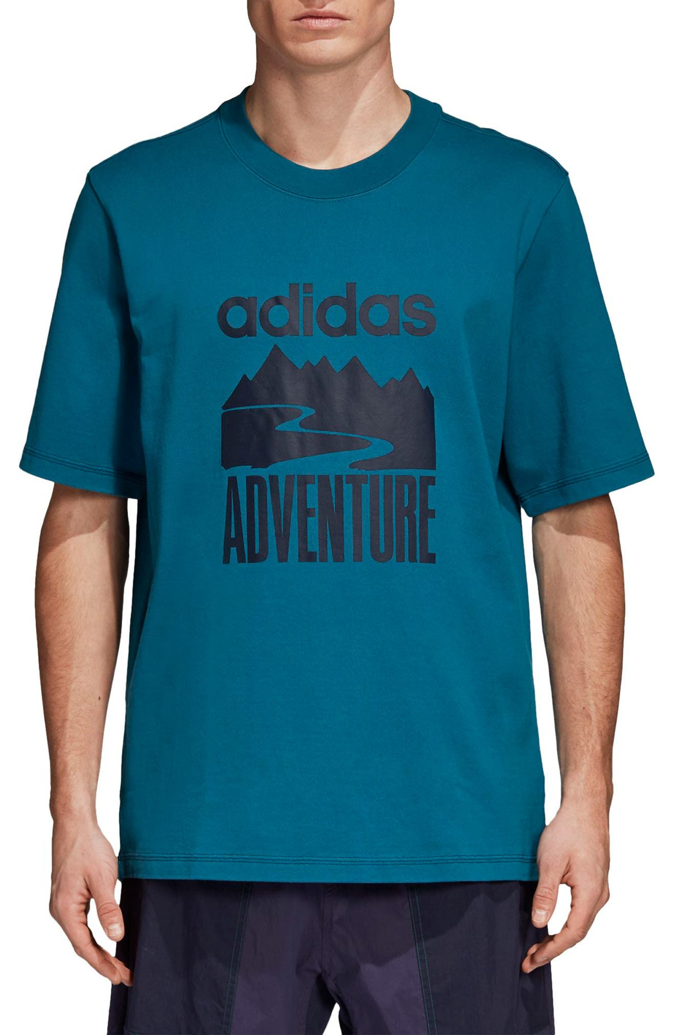 Adventure Graphic T-Shirt,                             Main thumbnail 1, color,                             Real Teal