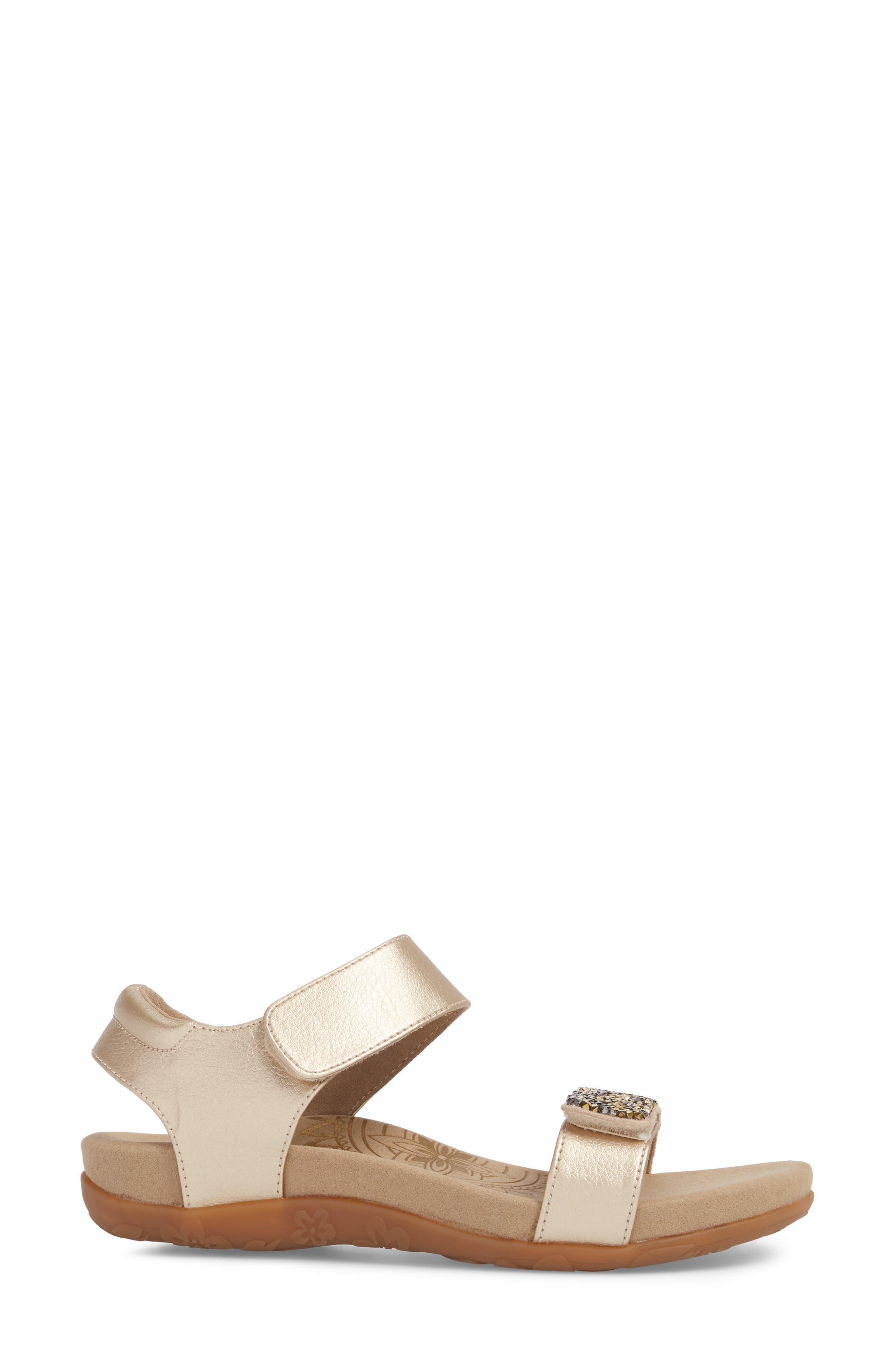 Maria Embellished Sandal,                             Alternate thumbnail 3, color,                             Gold Leather