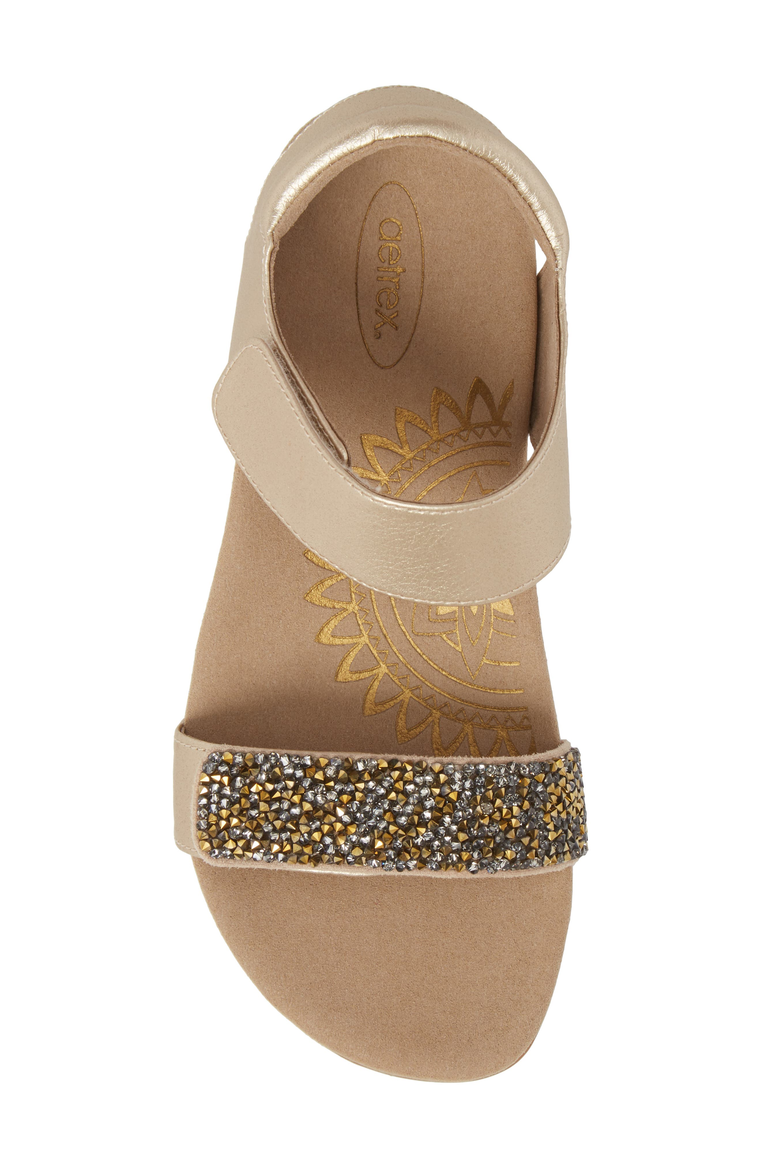 Maria Embellished Sandal,                             Alternate thumbnail 5, color,                             Gold Leather