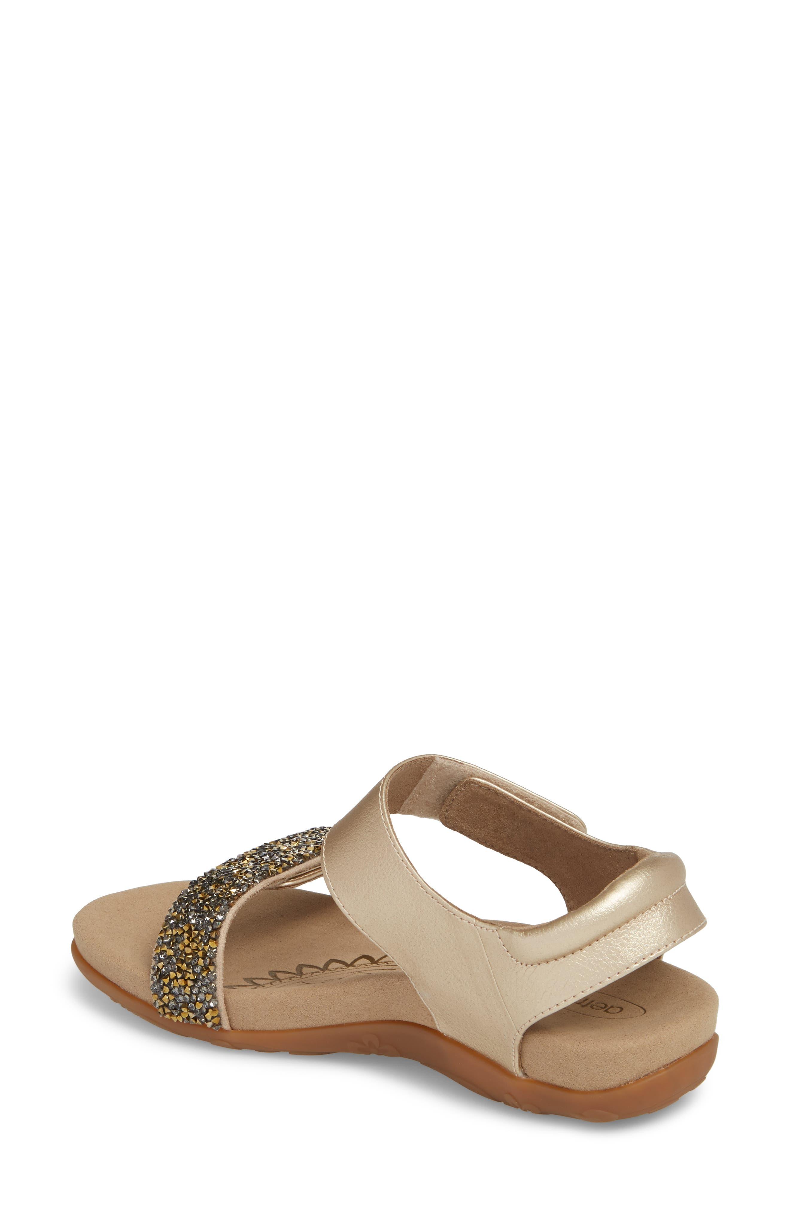 Maria Embellished Sandal,                             Alternate thumbnail 2, color,                             Gold Leather