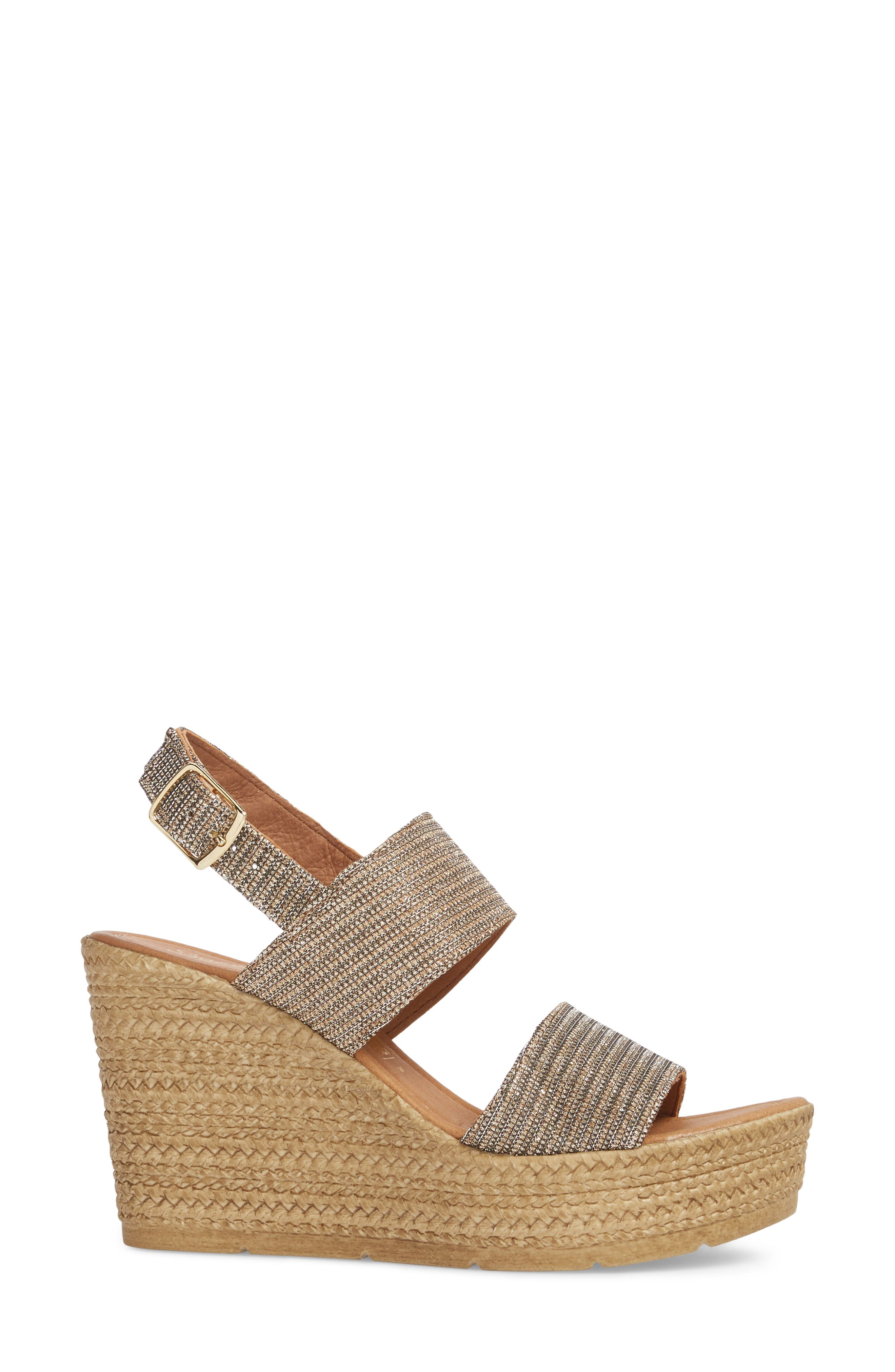 Downtime Wedge Sandal,                             Alternate thumbnail 3, color,                             Bronze Metallic Fabric