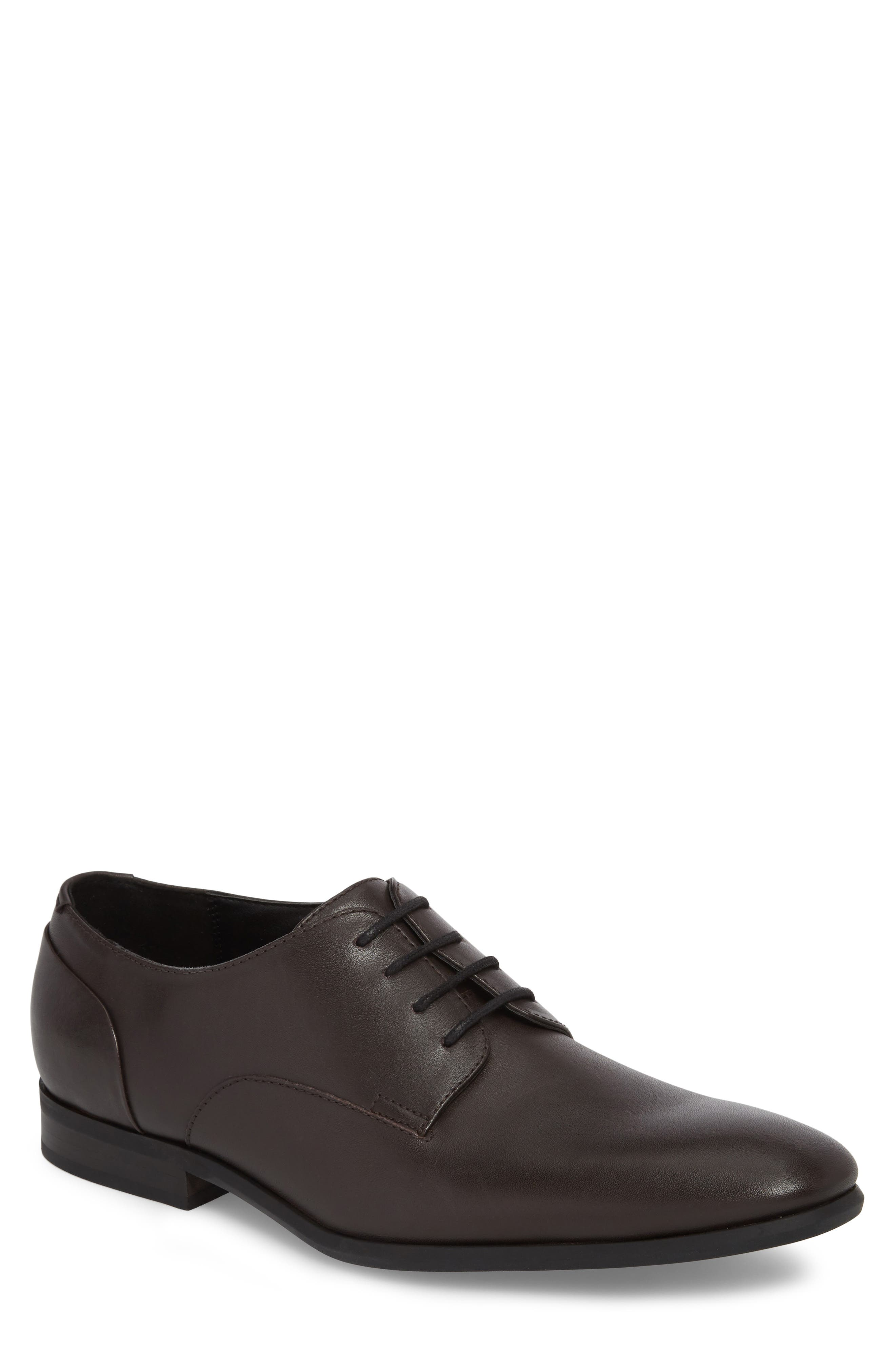 Lucca Plain Toe Derby,                             Main thumbnail 1, color,                             Dark Brown Leather