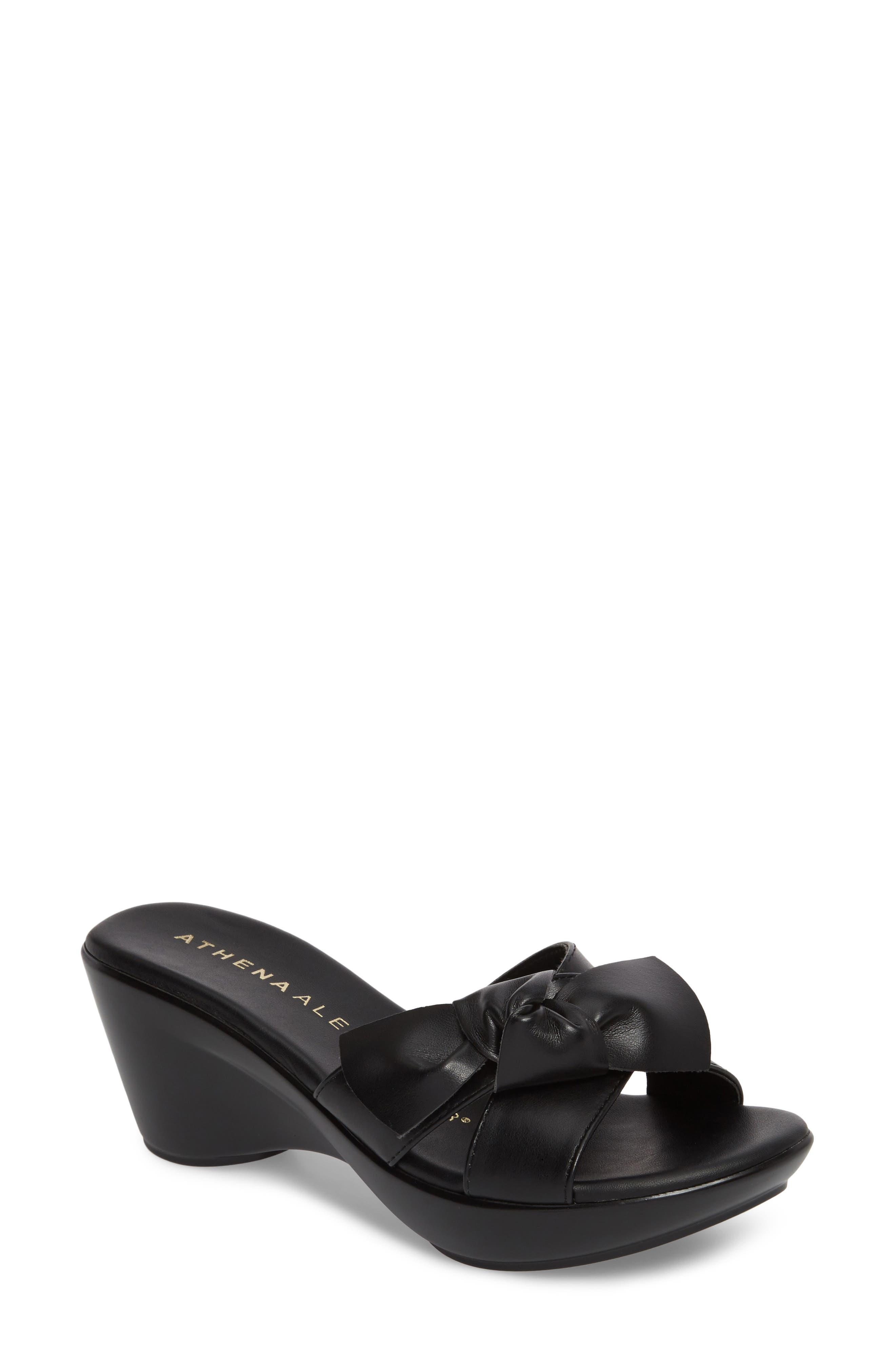 Giada Wedge Sandal,                             Main thumbnail 1, color,                             Black Fabric