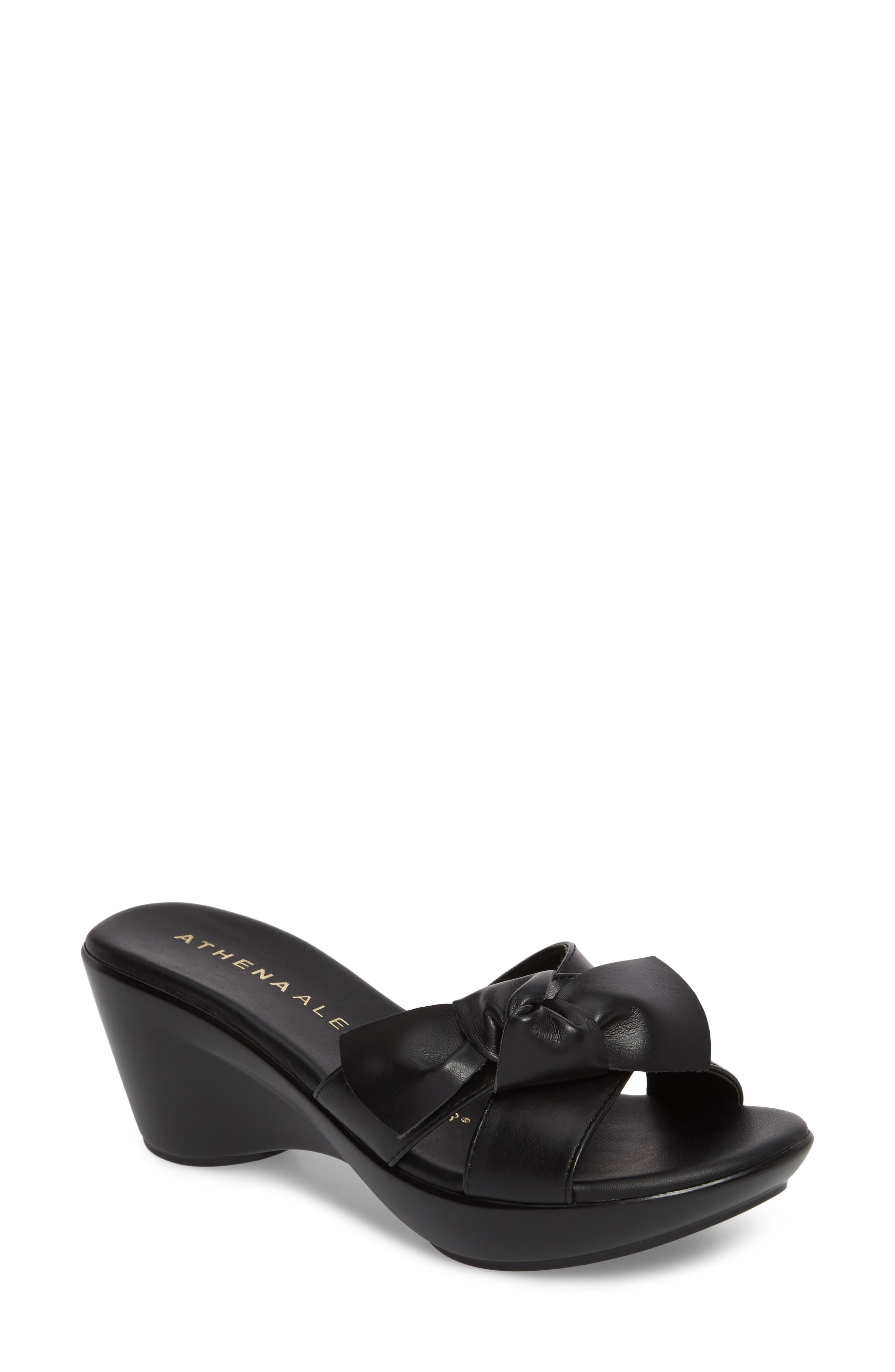 Giada Wedge Sandal,                         Main,                         color, Black Fabric