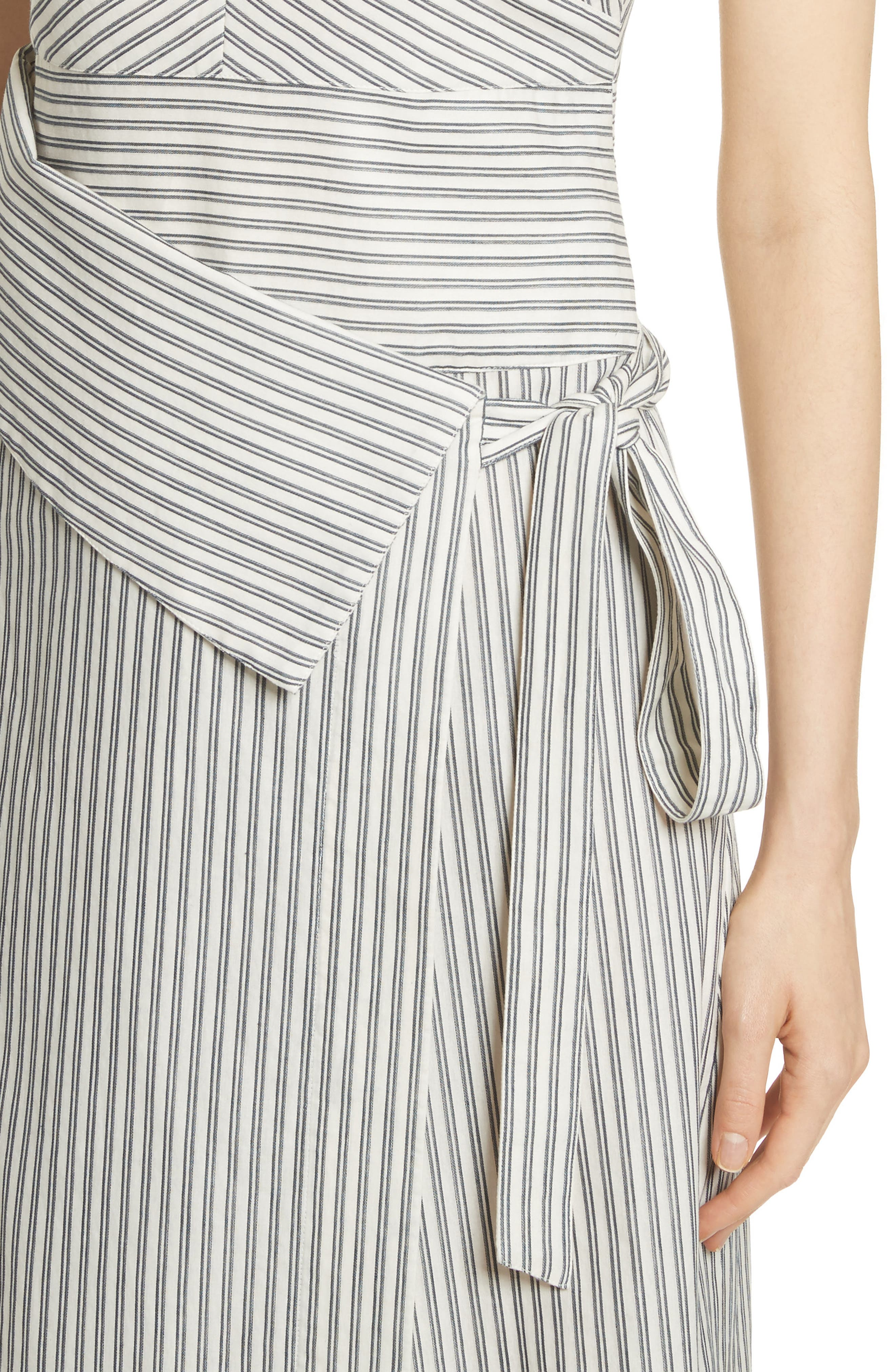 Stripe Wrap Front Midi Dress,                             Alternate thumbnail 6, color,                             Blue/ Ivory Stripe