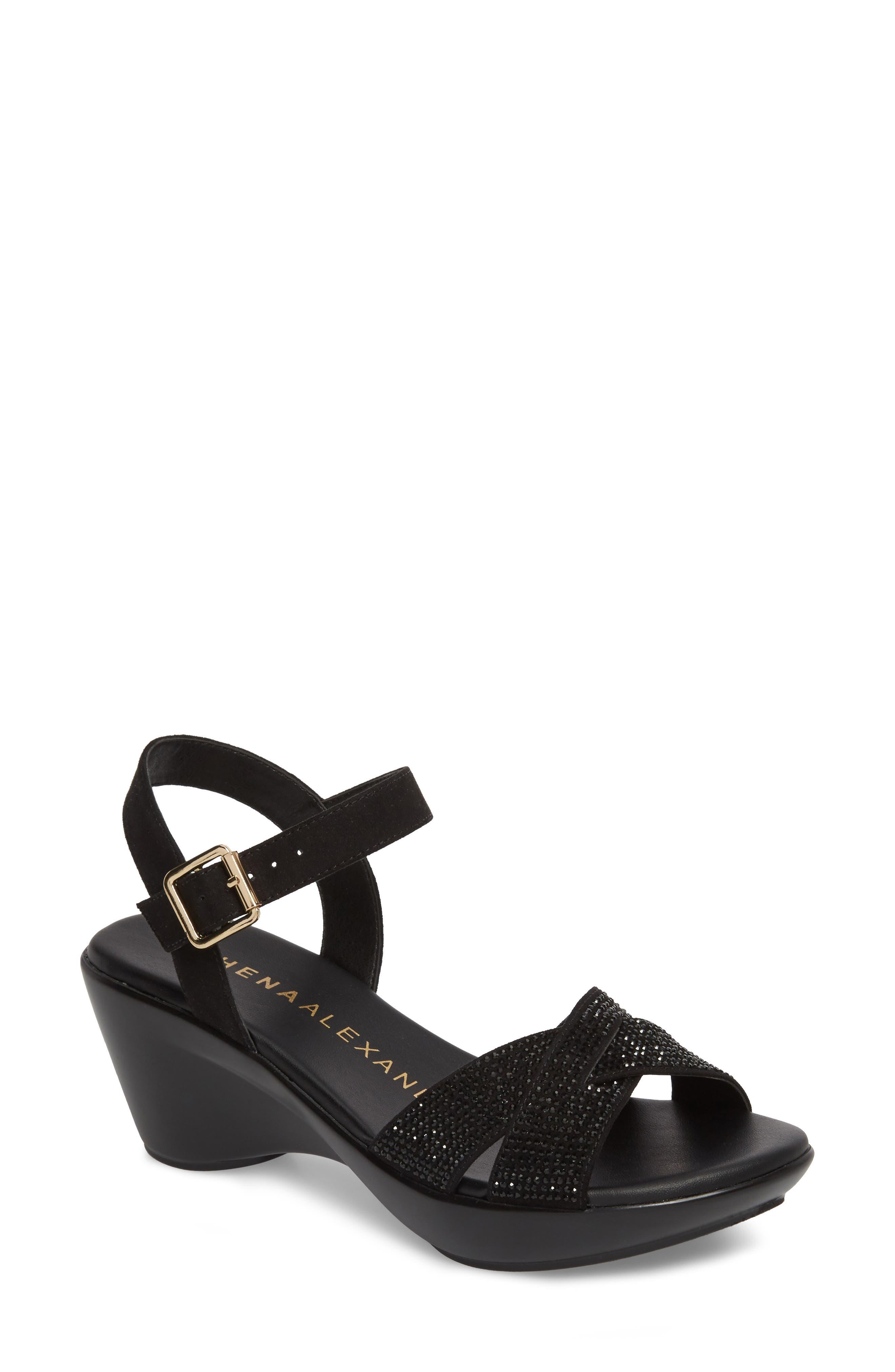 Florence Wedge Sandal,                             Main thumbnail 1, color,                             Black Faux Suede