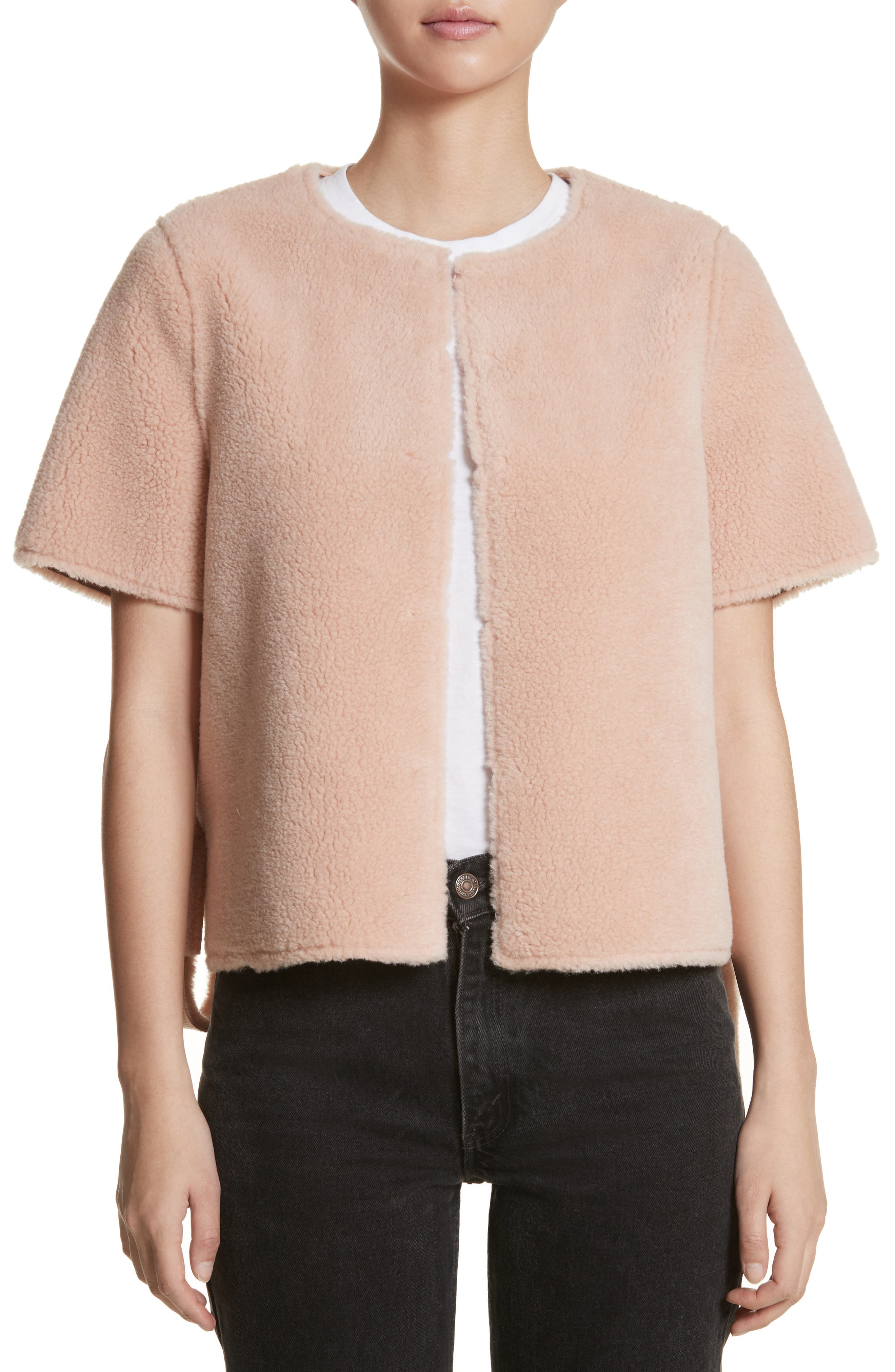 Alfonso Faux Shearling Side Tie Jacket,                         Main,                         color, Peach Beige