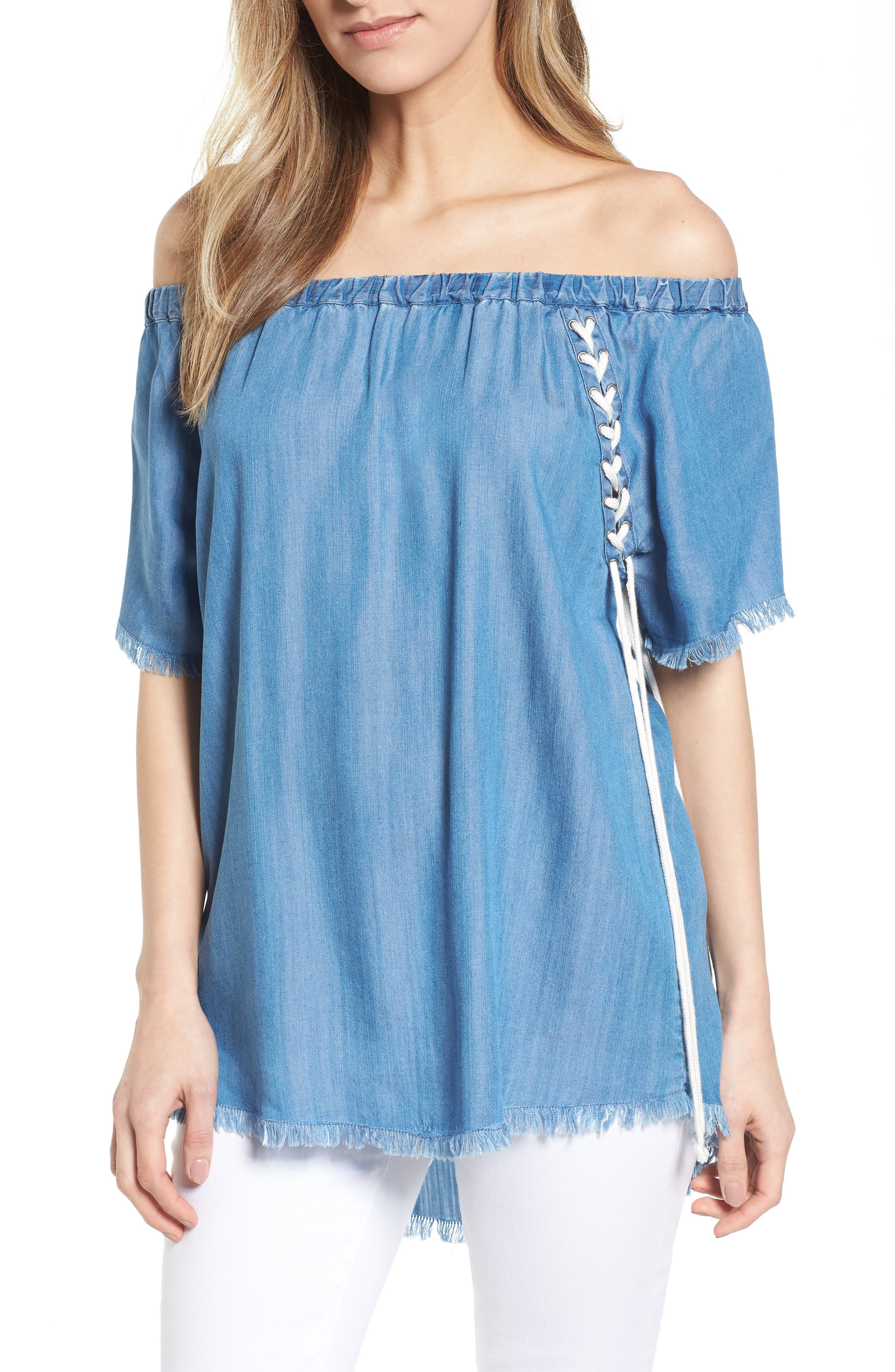 Lace-Up Side Off the Shoulder Top,                             Main thumbnail 1, color,                             Blue