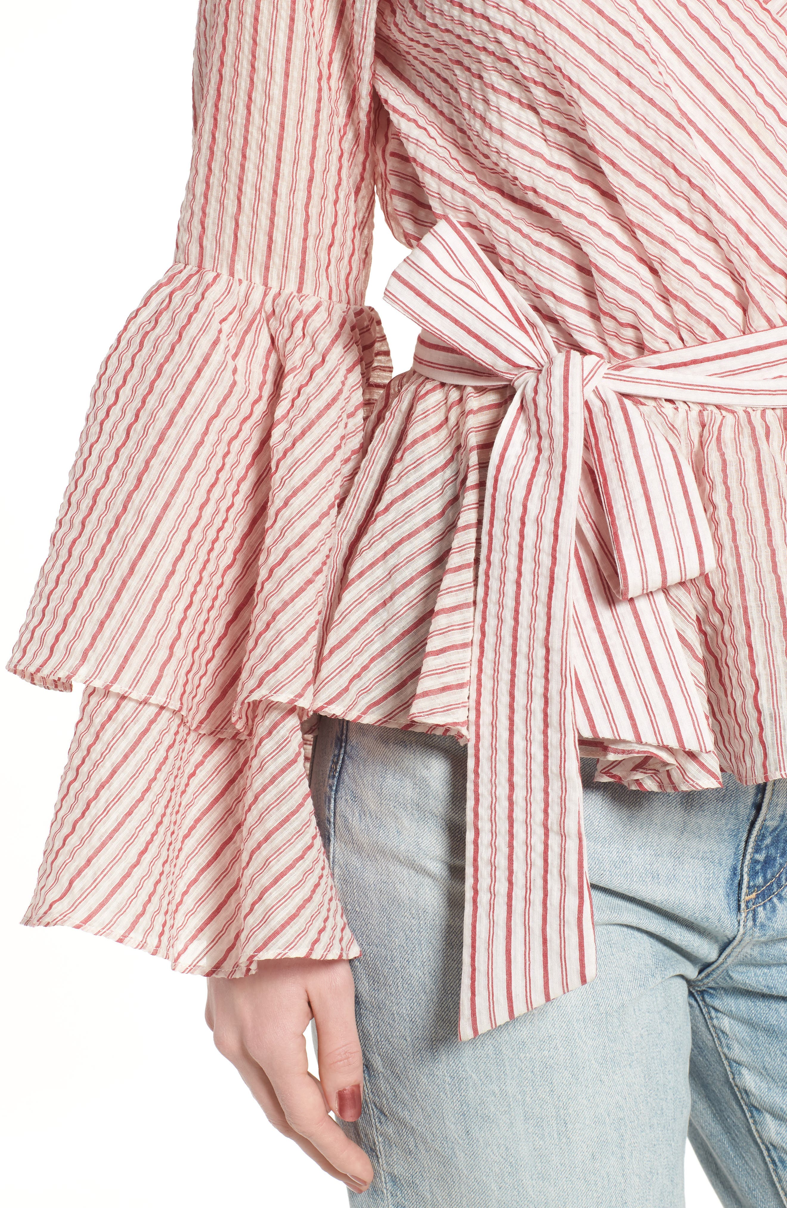 Melly Stripe Top,                             Alternate thumbnail 4, color,                             Red Multi