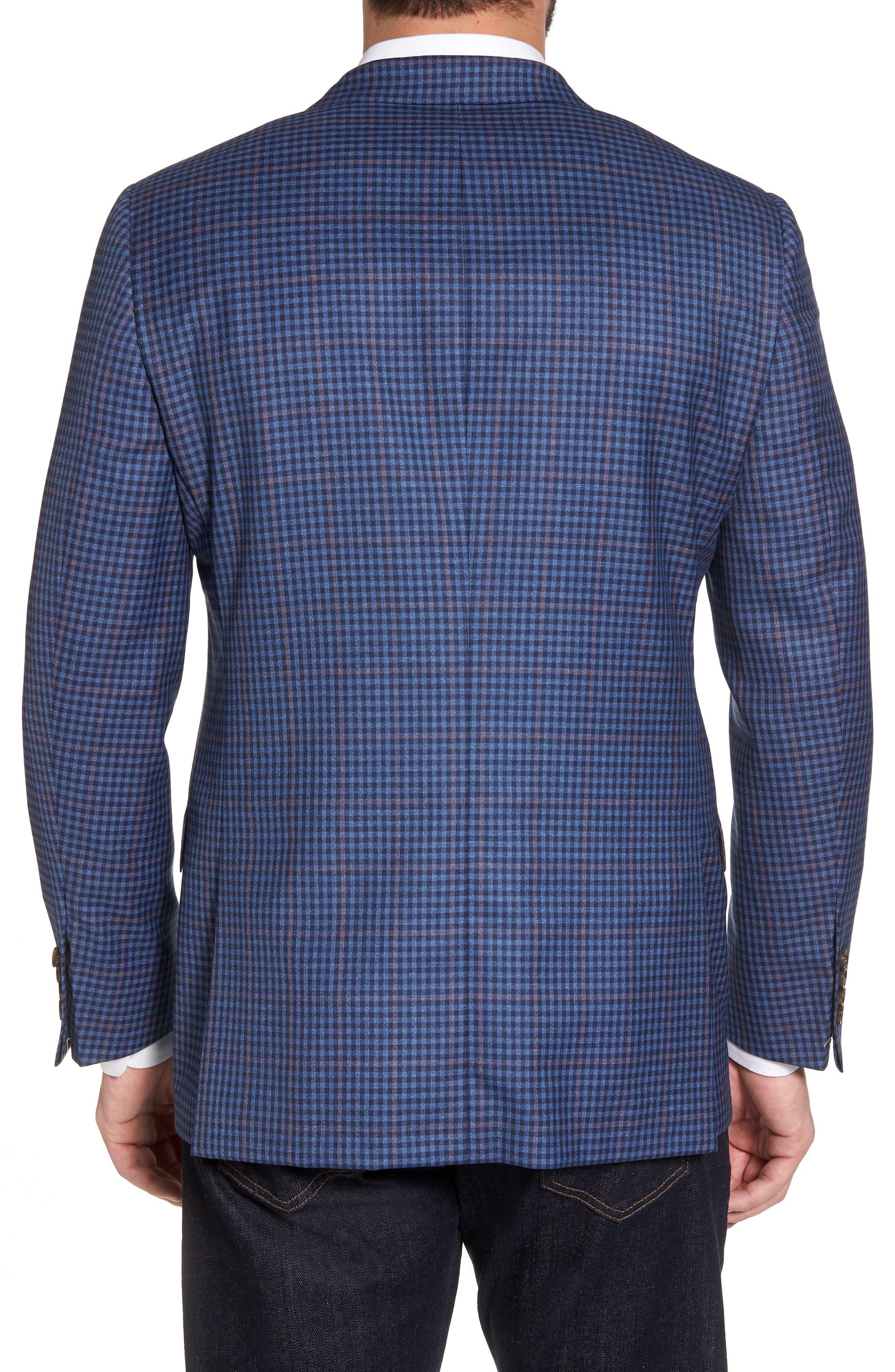 Classic B Fit Check Wool Sport Coat,                             Alternate thumbnail 2, color,                             Blue