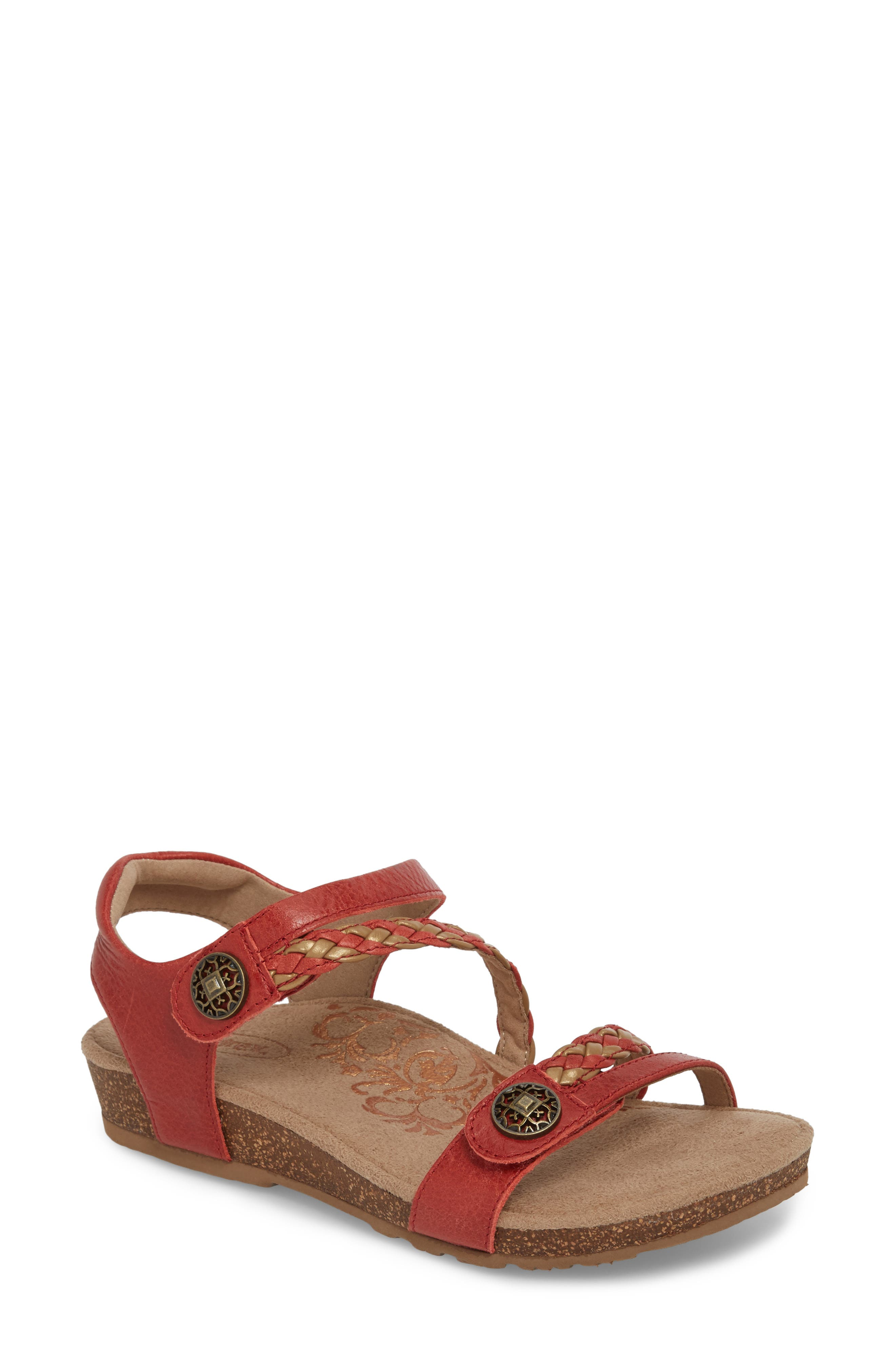 'Jillian' Braided Leather Strap Sandal,                             Main thumbnail 1, color,                             Coral Leather