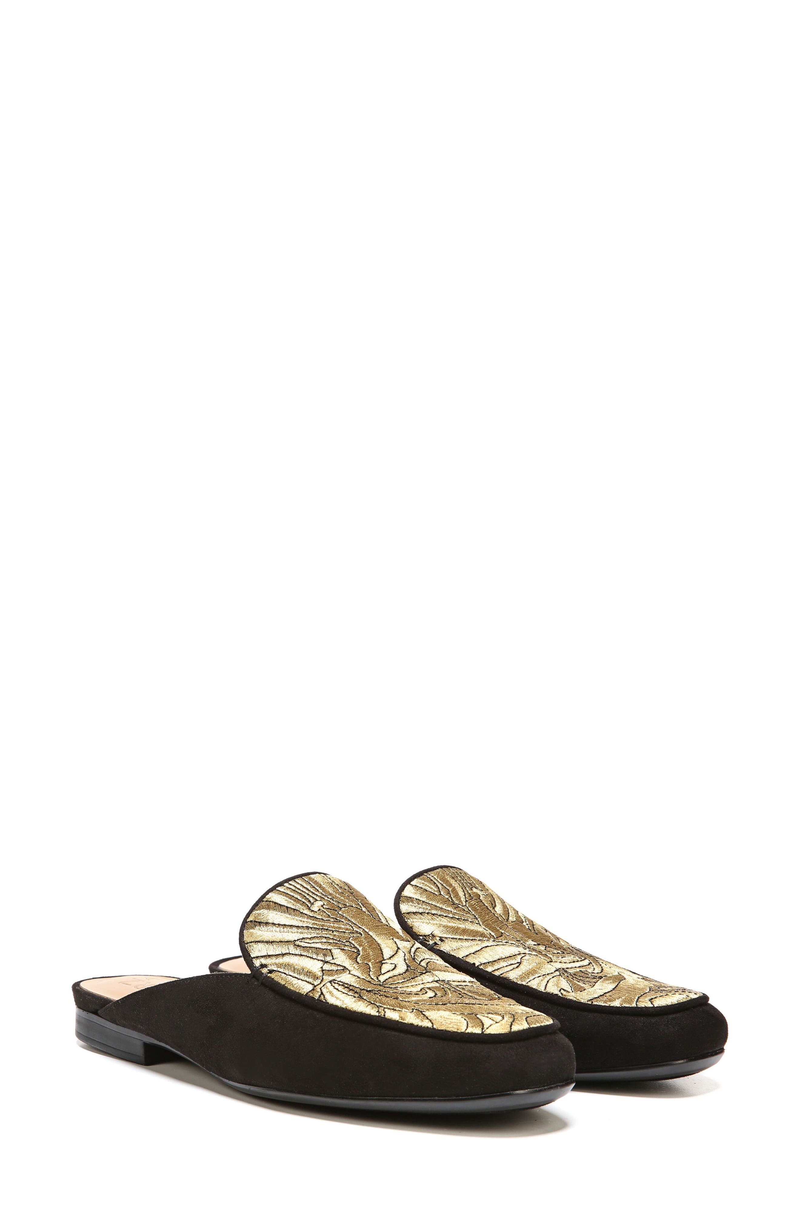 Eden II Embroidered Mule,                             Alternate thumbnail 7, color,                             Black/ Gold Leather