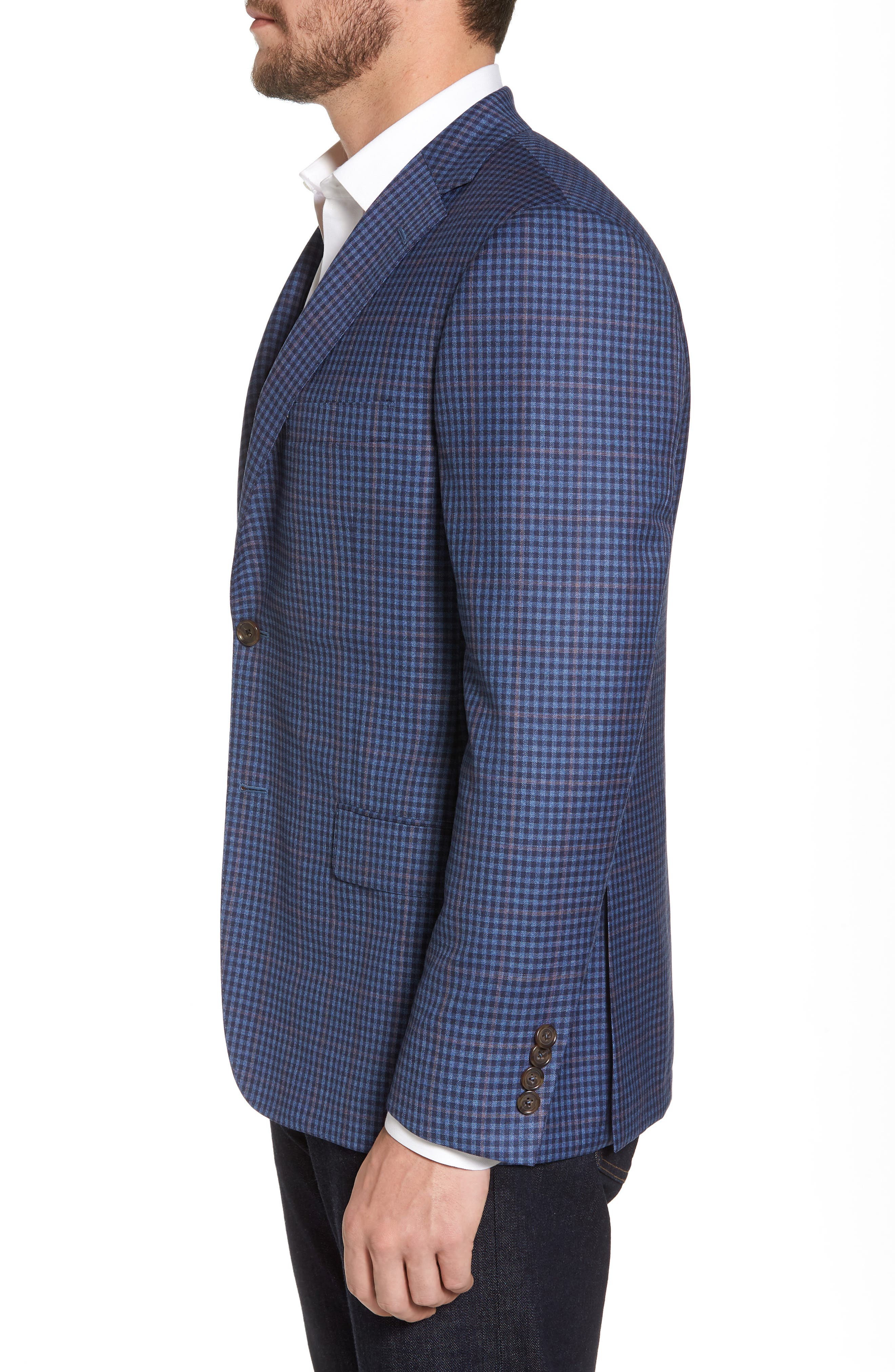 Classic B Fit Check Wool Sport Coat,                             Alternate thumbnail 3, color,                             Blue