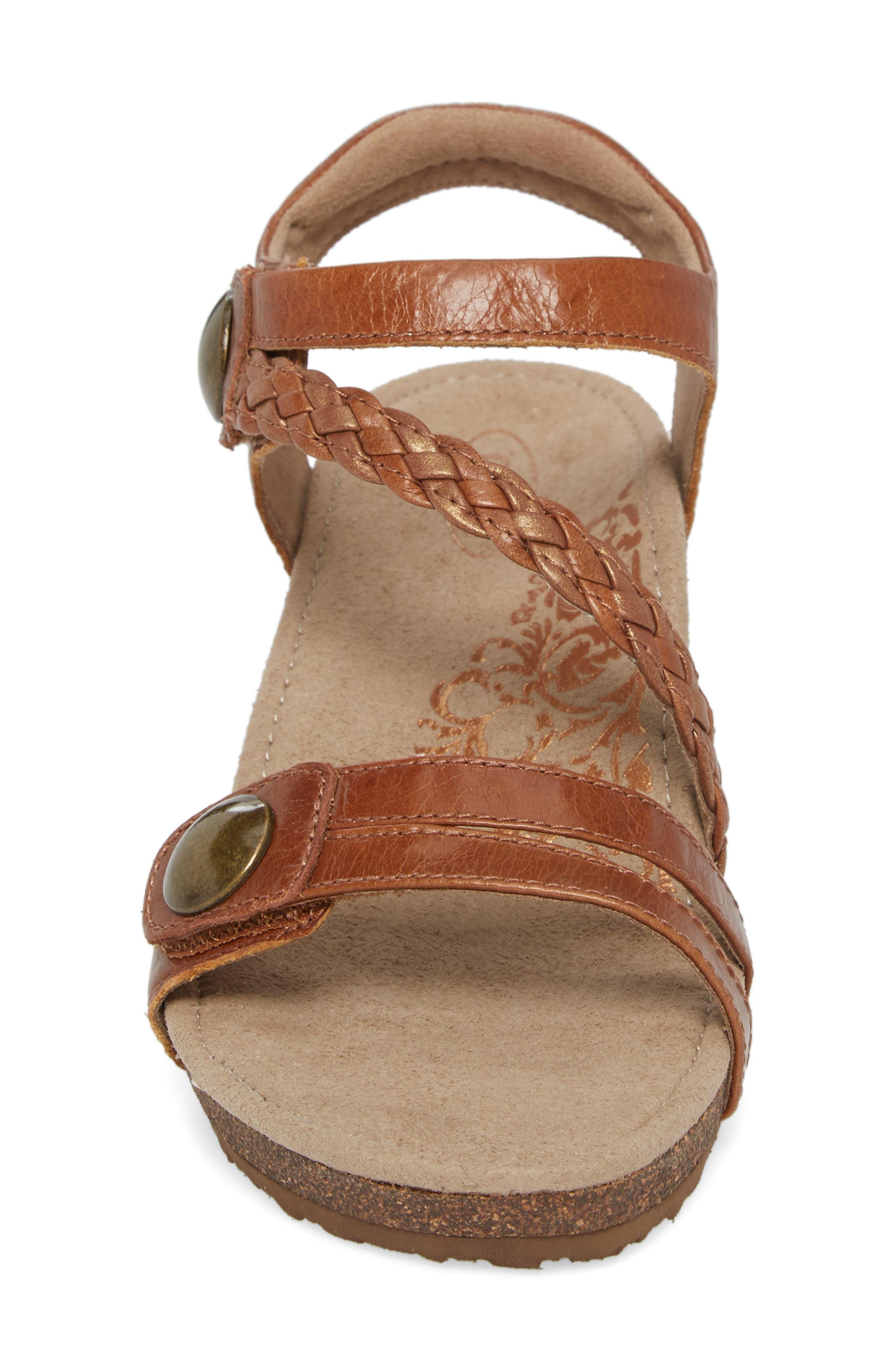 'Naya' Wedge Sandal,                             Alternate thumbnail 4, color,                             Cognac Leather