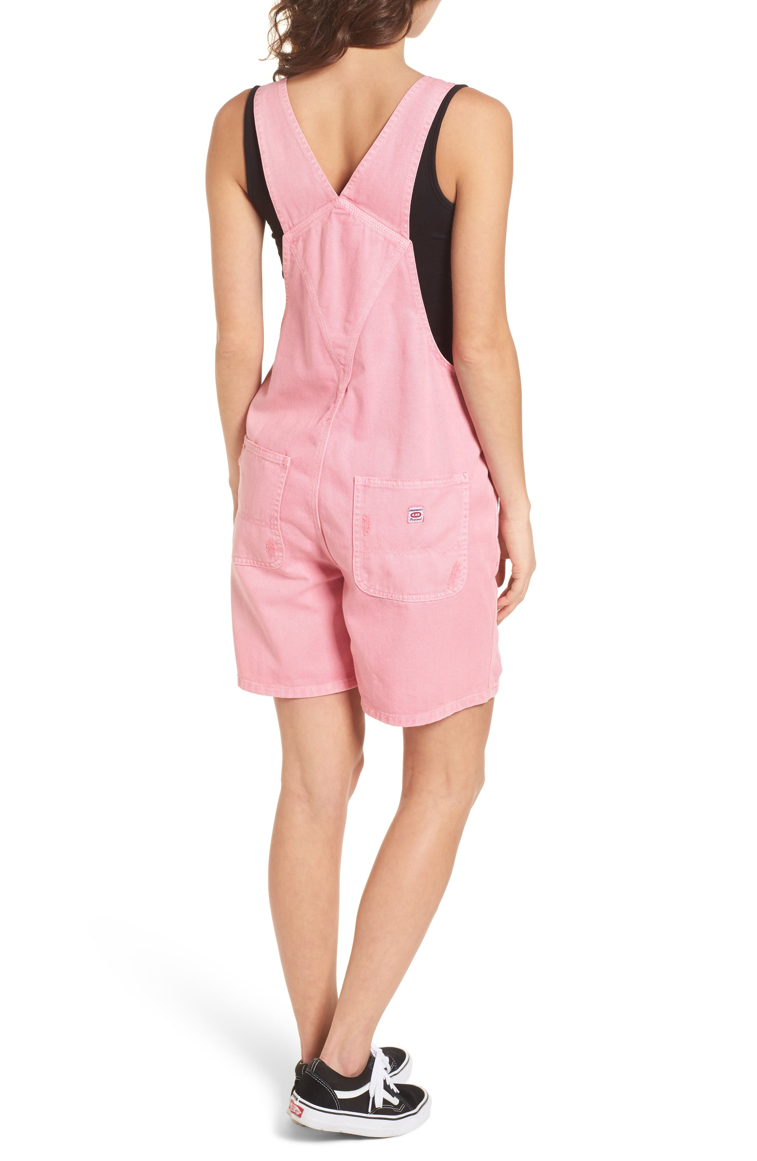 Unionbay Mario Denim Shortalls,                             Alternate thumbnail 2, color,                             Popsicle Pink