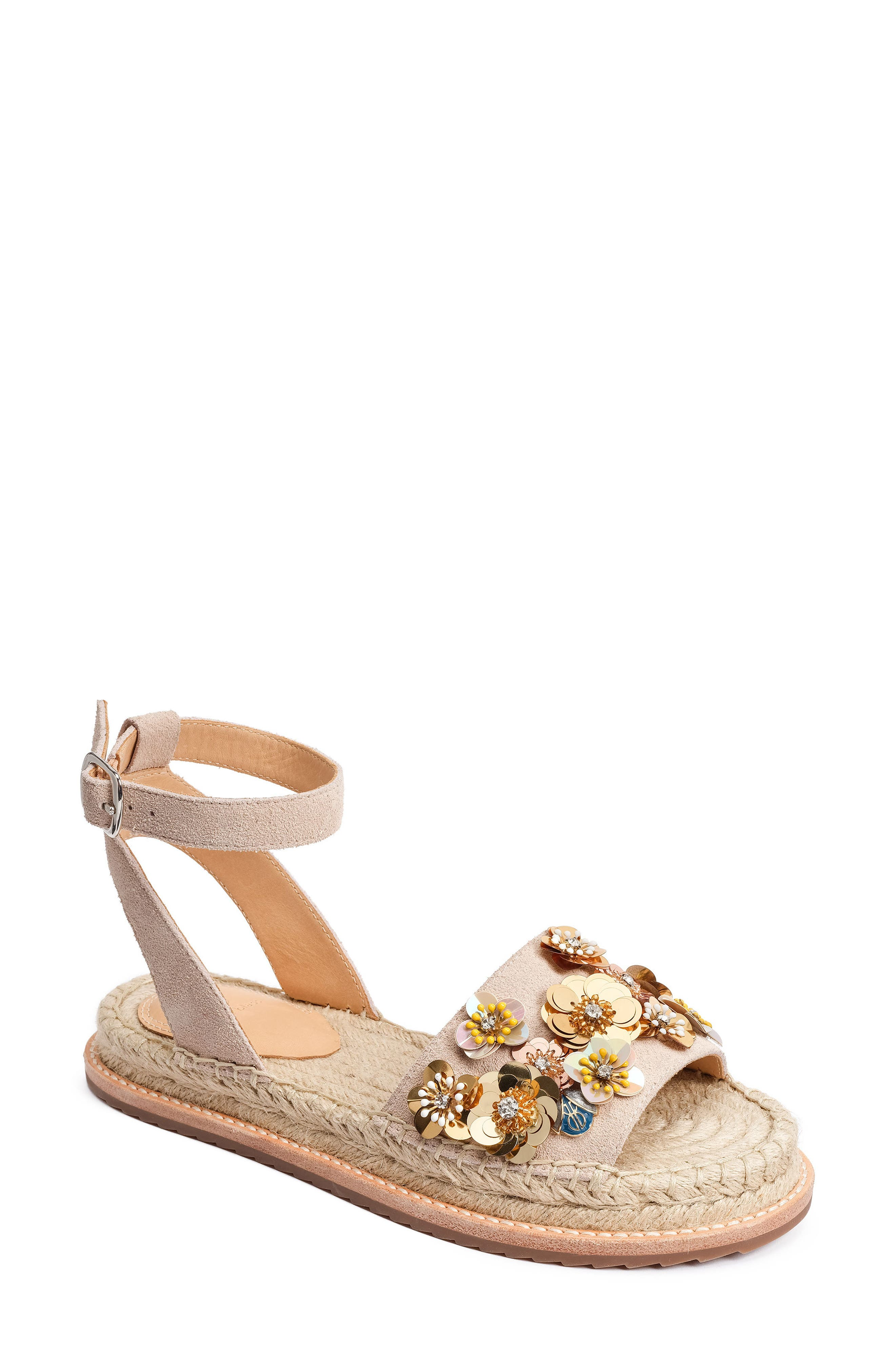 Bromley Floral Embellished Espadrille,                             Main thumbnail 1, color,                             Vanilla Leather