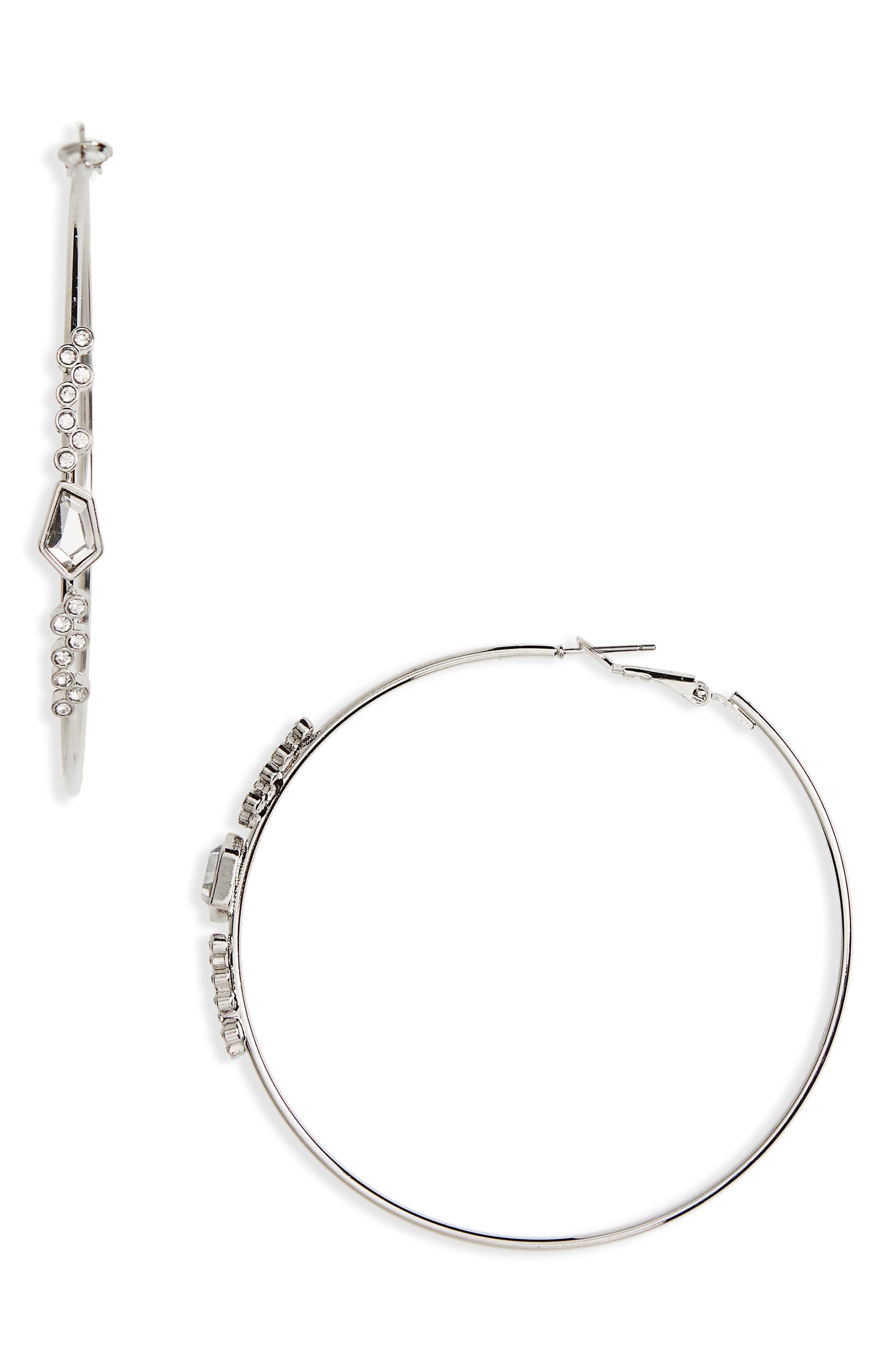 Side Hoop Earrings,                         Main,                         color, Crystal