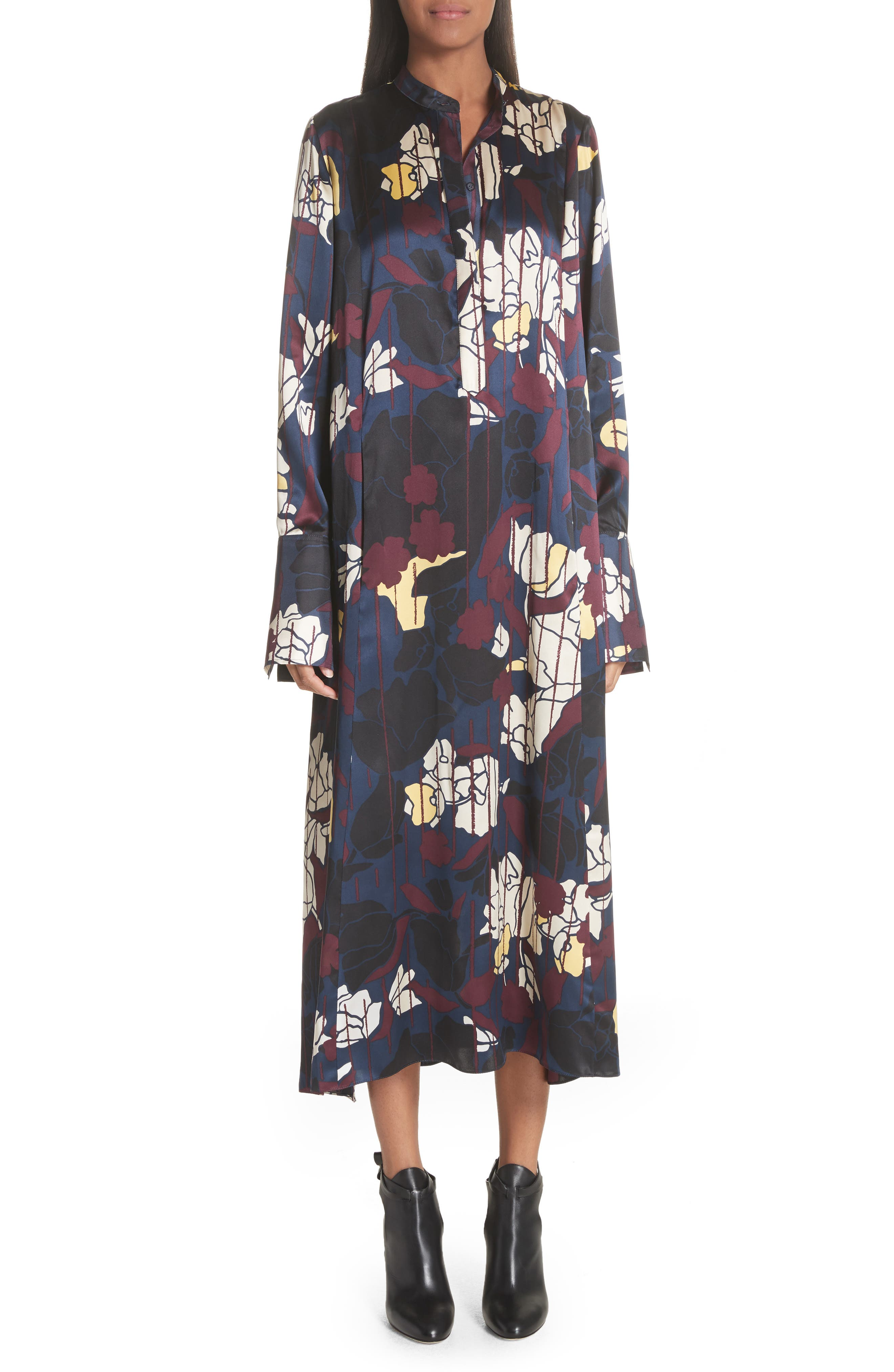 Anwyn Floral Silk Dress,                             Main thumbnail 1, color,                             French Blue Floral Print