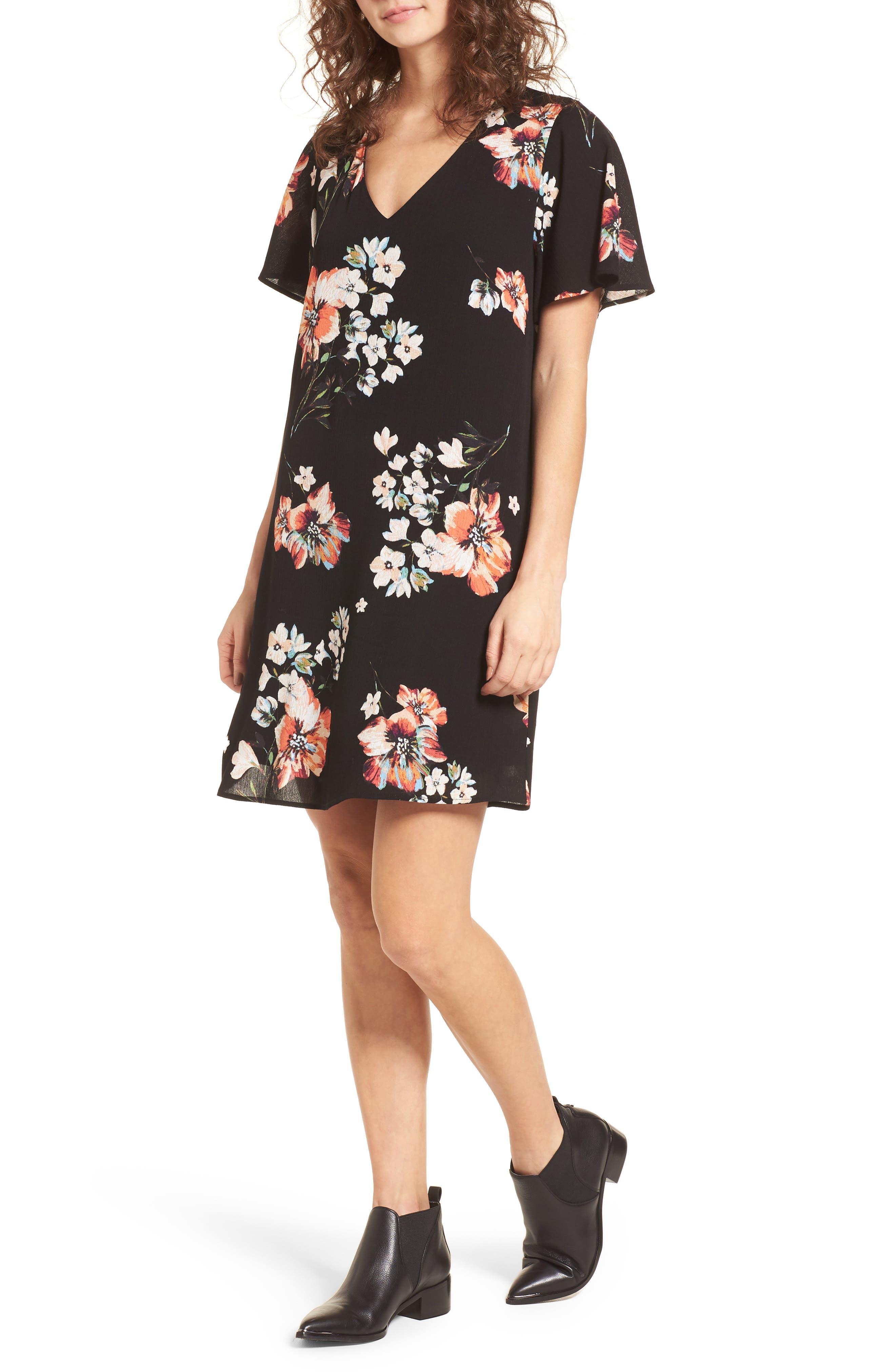 Floral Shift Dress,                         Main,                         color, Black/ Coral