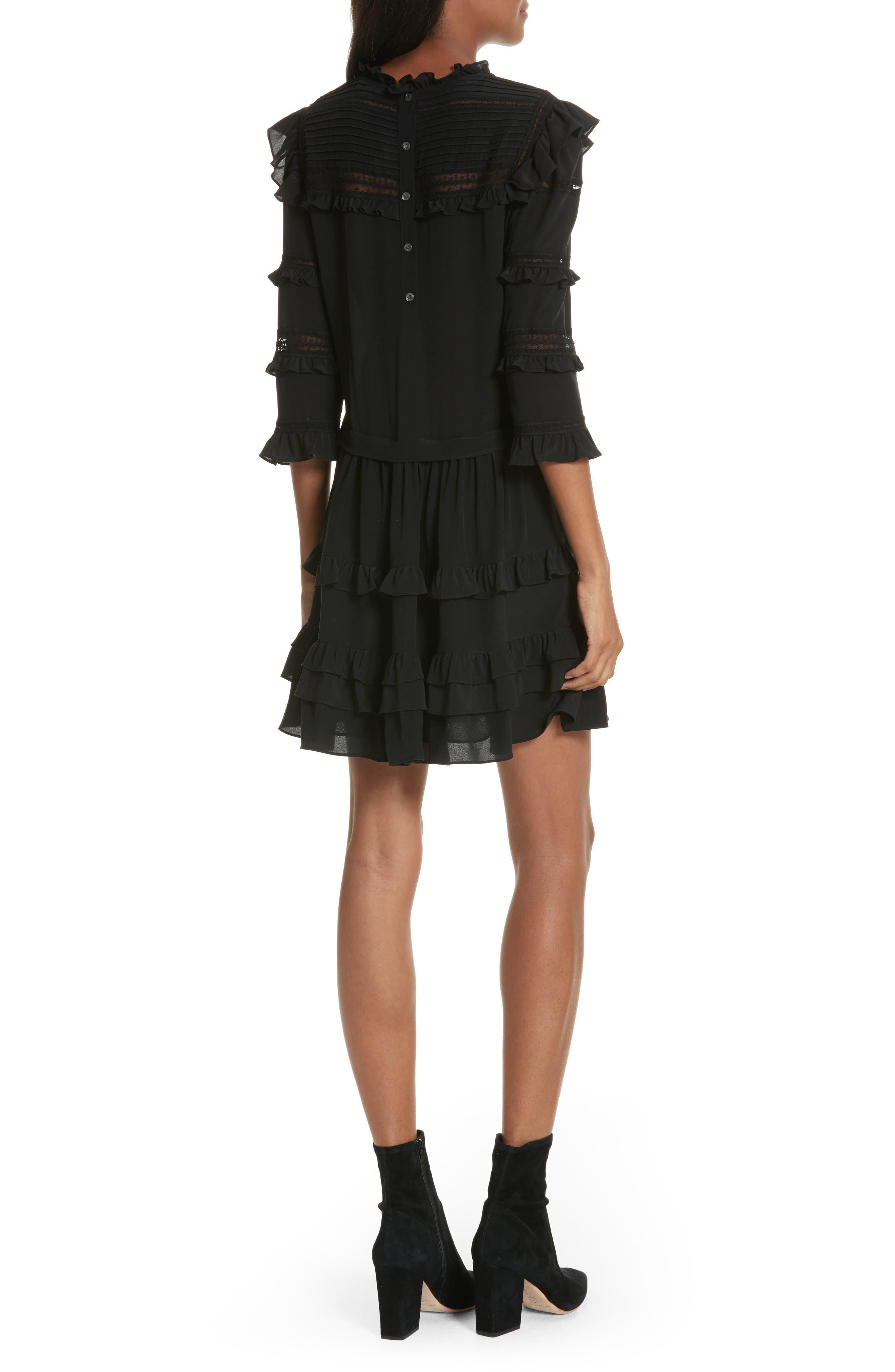 Ruffle Silk Dress,                             Alternate thumbnail 2, color,                             Black