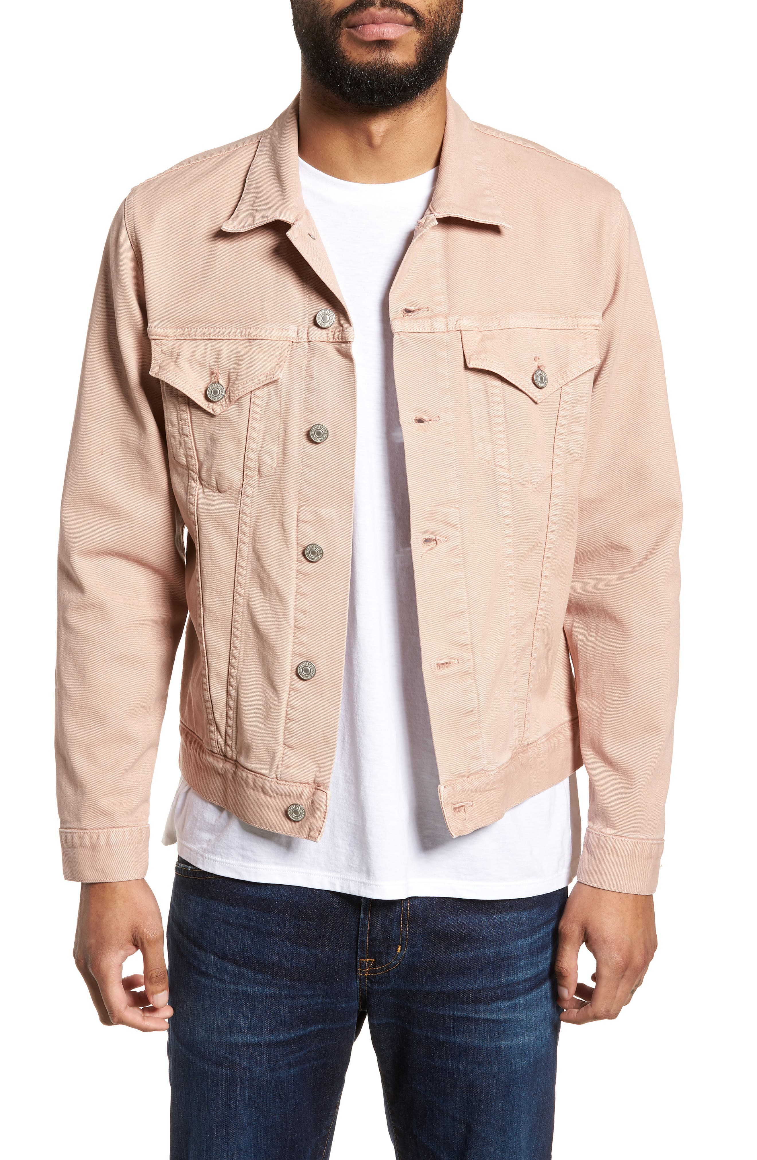 Classic Denim Jacket,                             Main thumbnail 1, color,                             Muted Clay