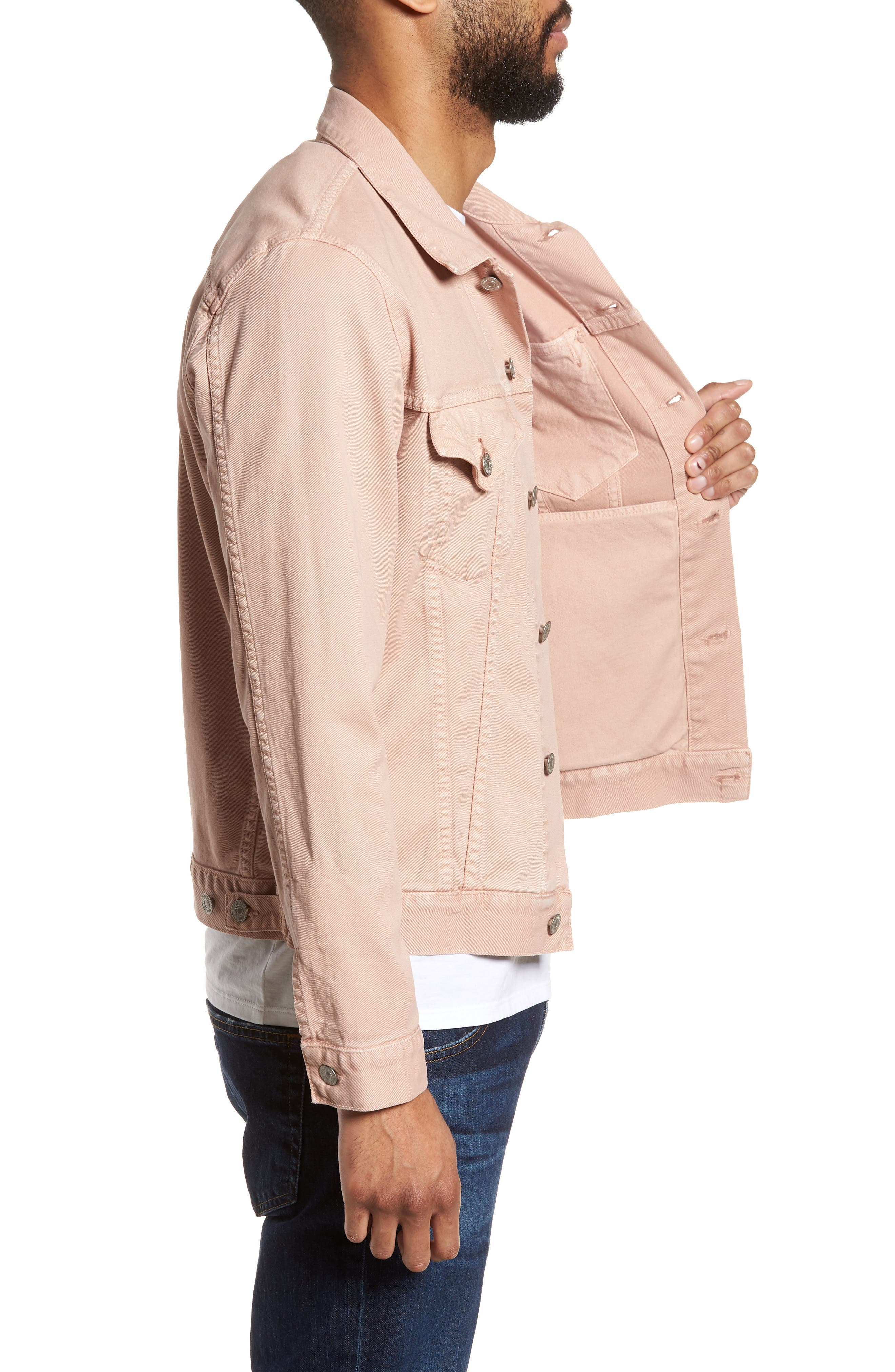 Classic Denim Jacket,                             Alternate thumbnail 3, color,                             Muted Clay