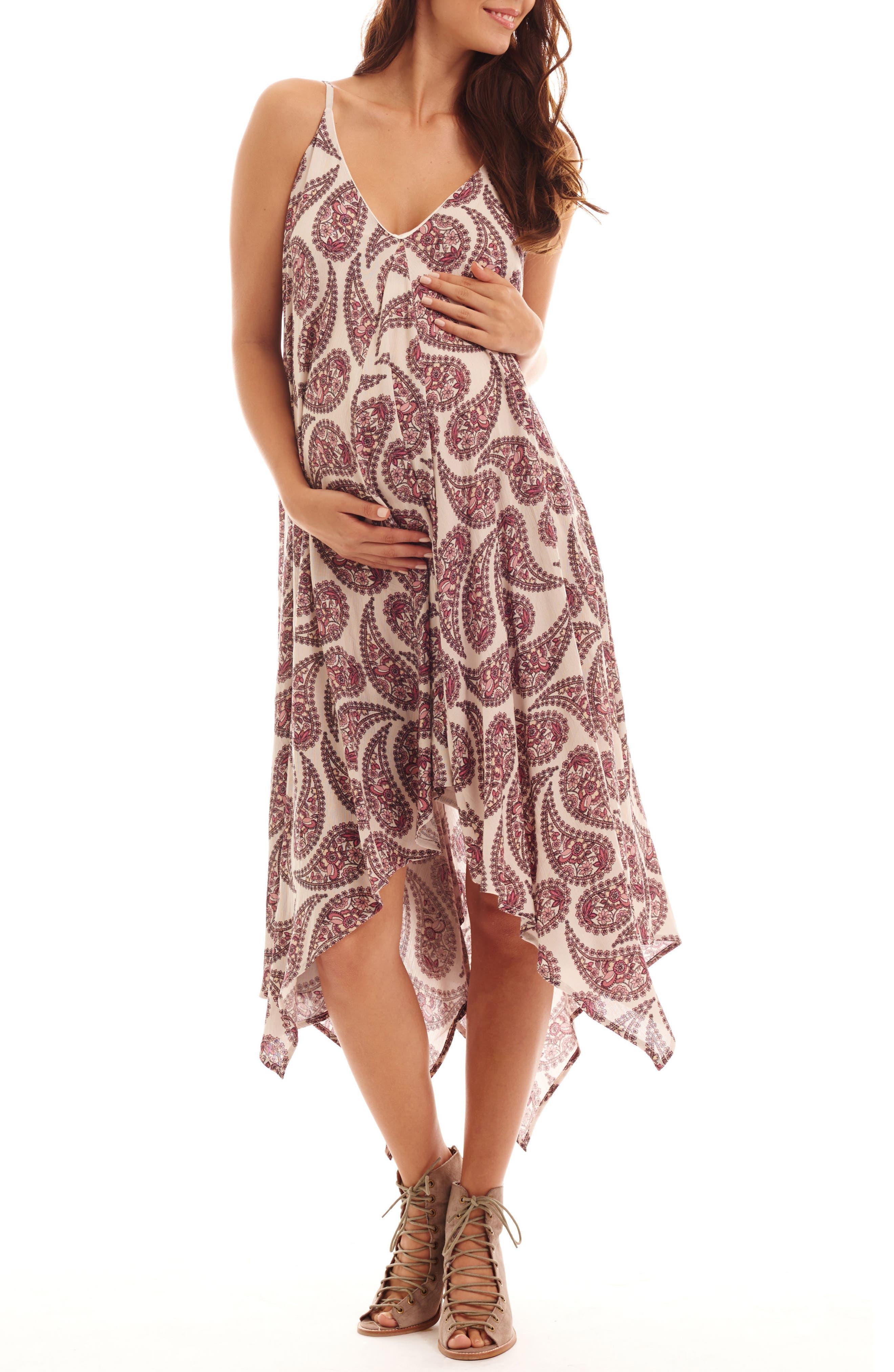 Birgit Maternity/Nursing Dress,                             Main thumbnail 1, color,                             Cream Paisley