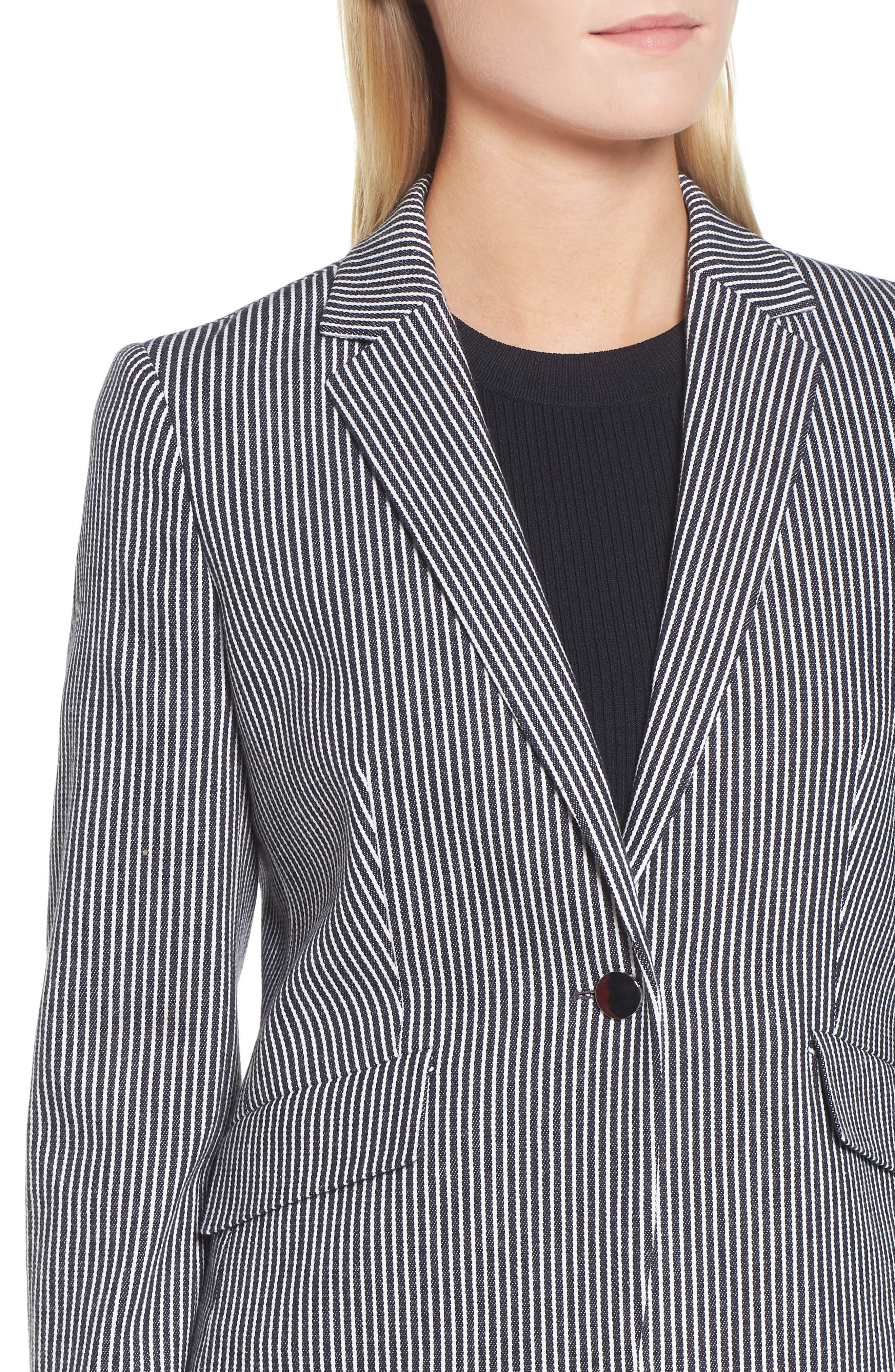 Katemika Stripe Stretch Cotton Suit Jacket,                             Alternate thumbnail 4, color,                             Navy Fantasy