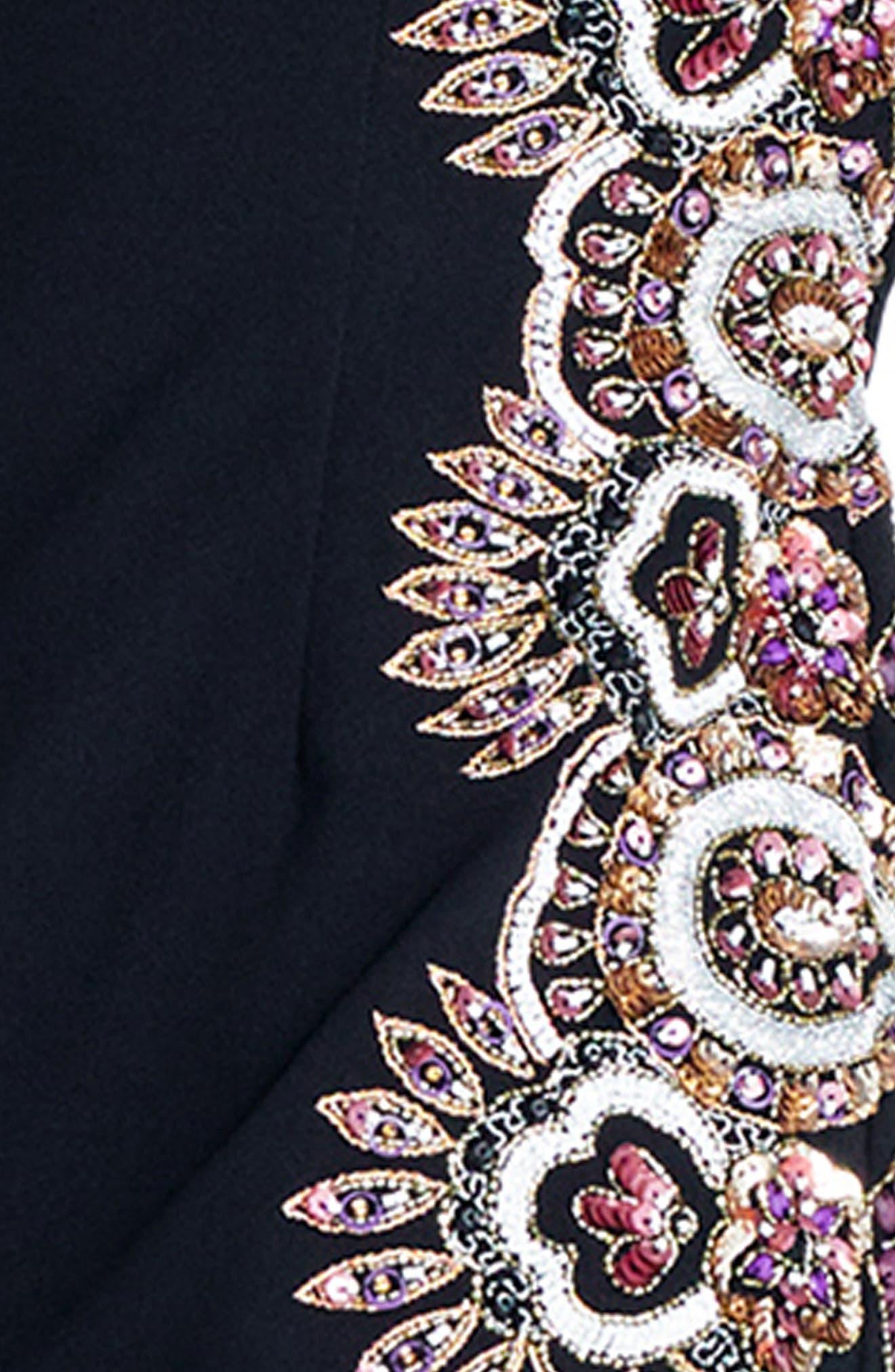 Beaded Crepe Sheath Dress,                             Alternate thumbnail 4, color,                             Black