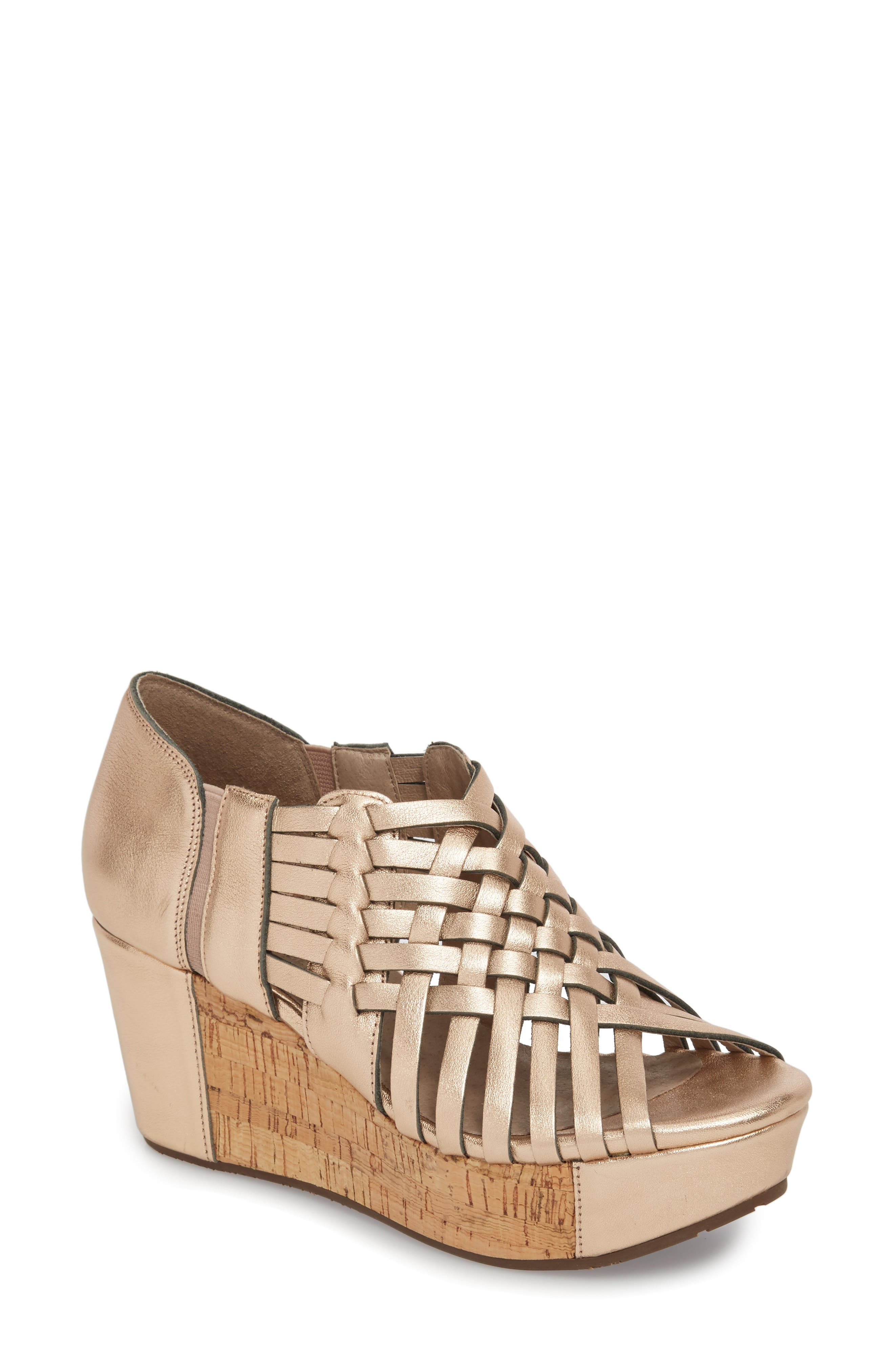 Web Woven Wedge,                         Main,                         color, Rose Gold Leather