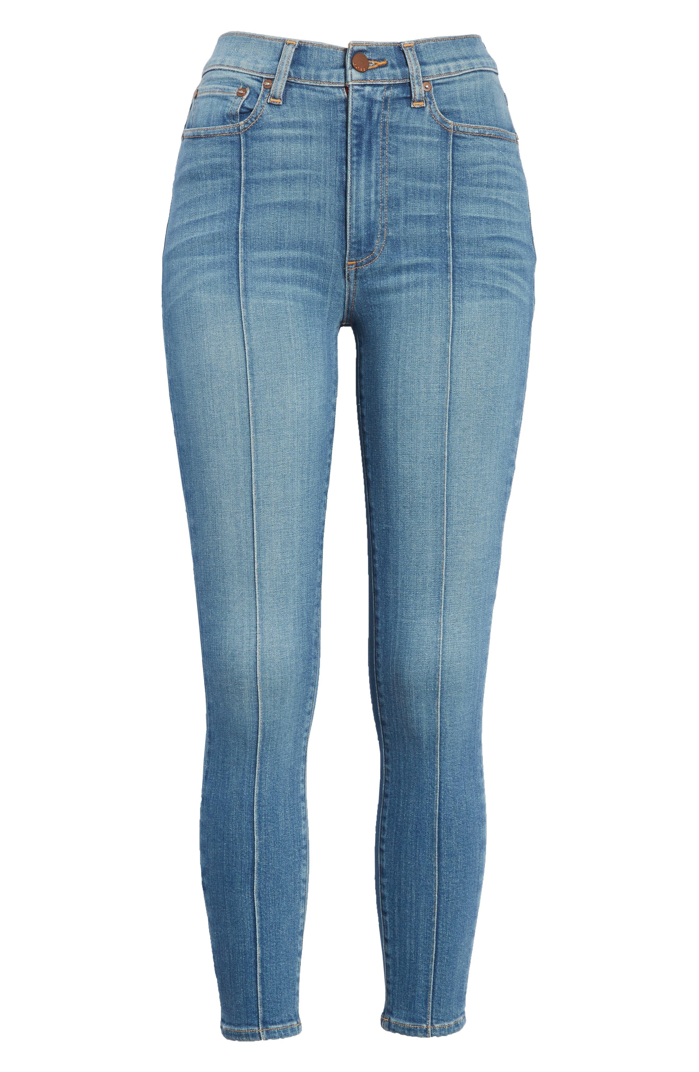 AO.LA Good High Waist Pintuck Skinny Jeans,                             Alternate thumbnail 6, color,                             Roadhouse Blues