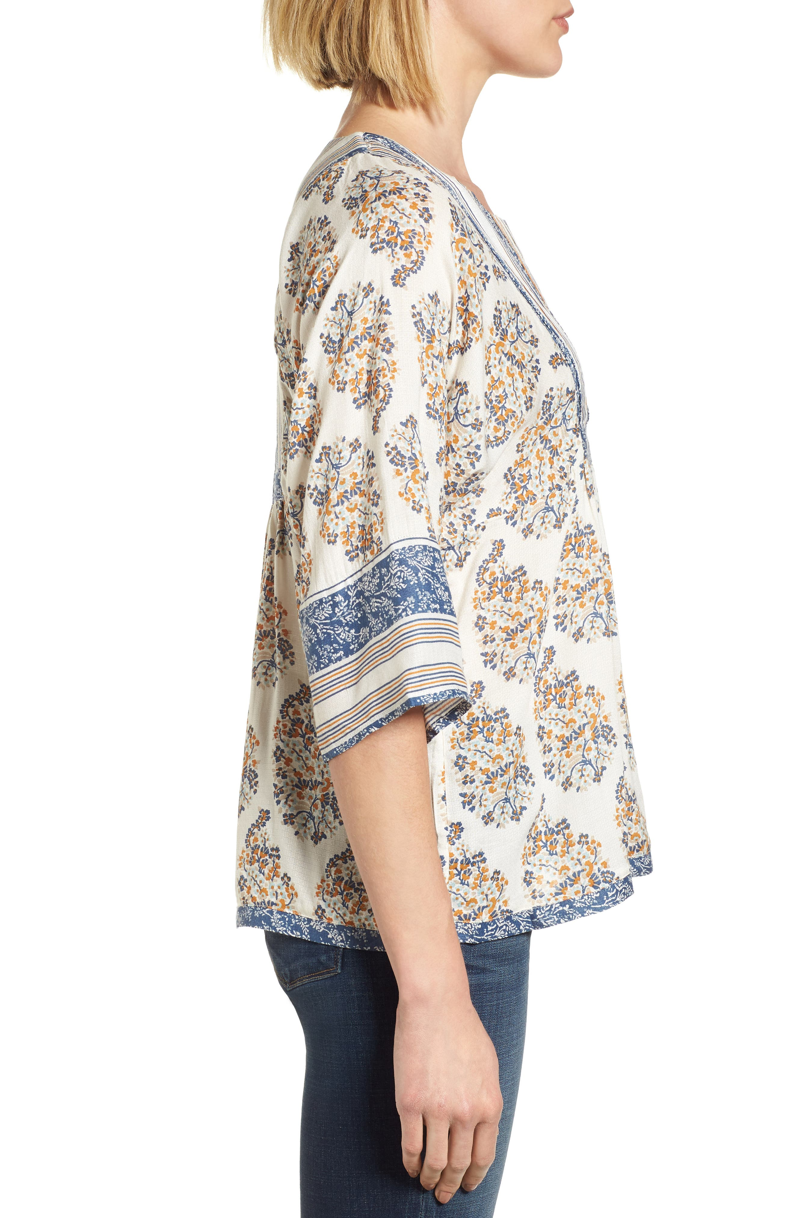 Alternate Image 3  - Lucky Brand Mixed Print Peasant Top