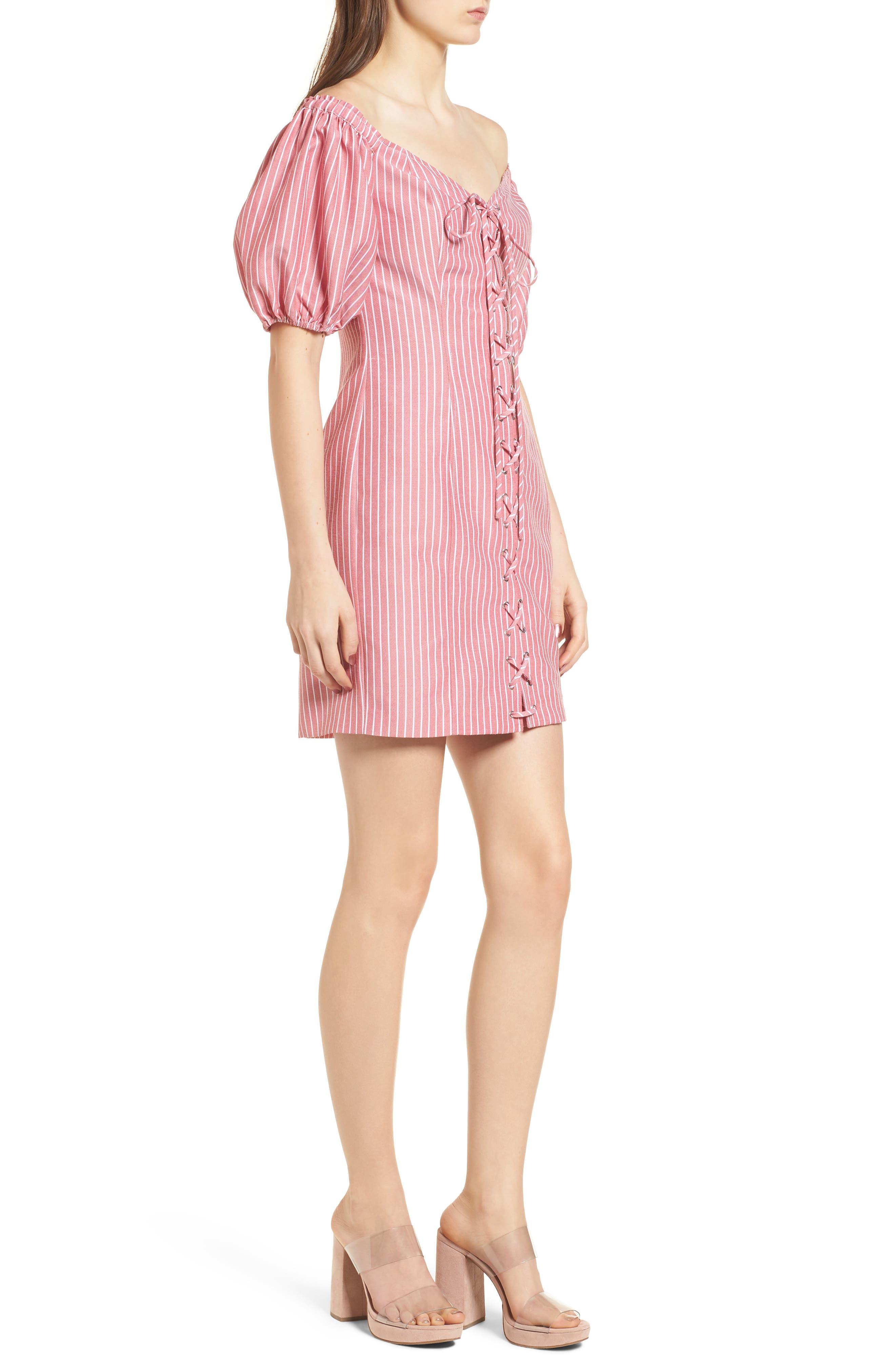 Frankie Lace-Up Minidress,                             Alternate thumbnail 3, color,                             Red Stripe