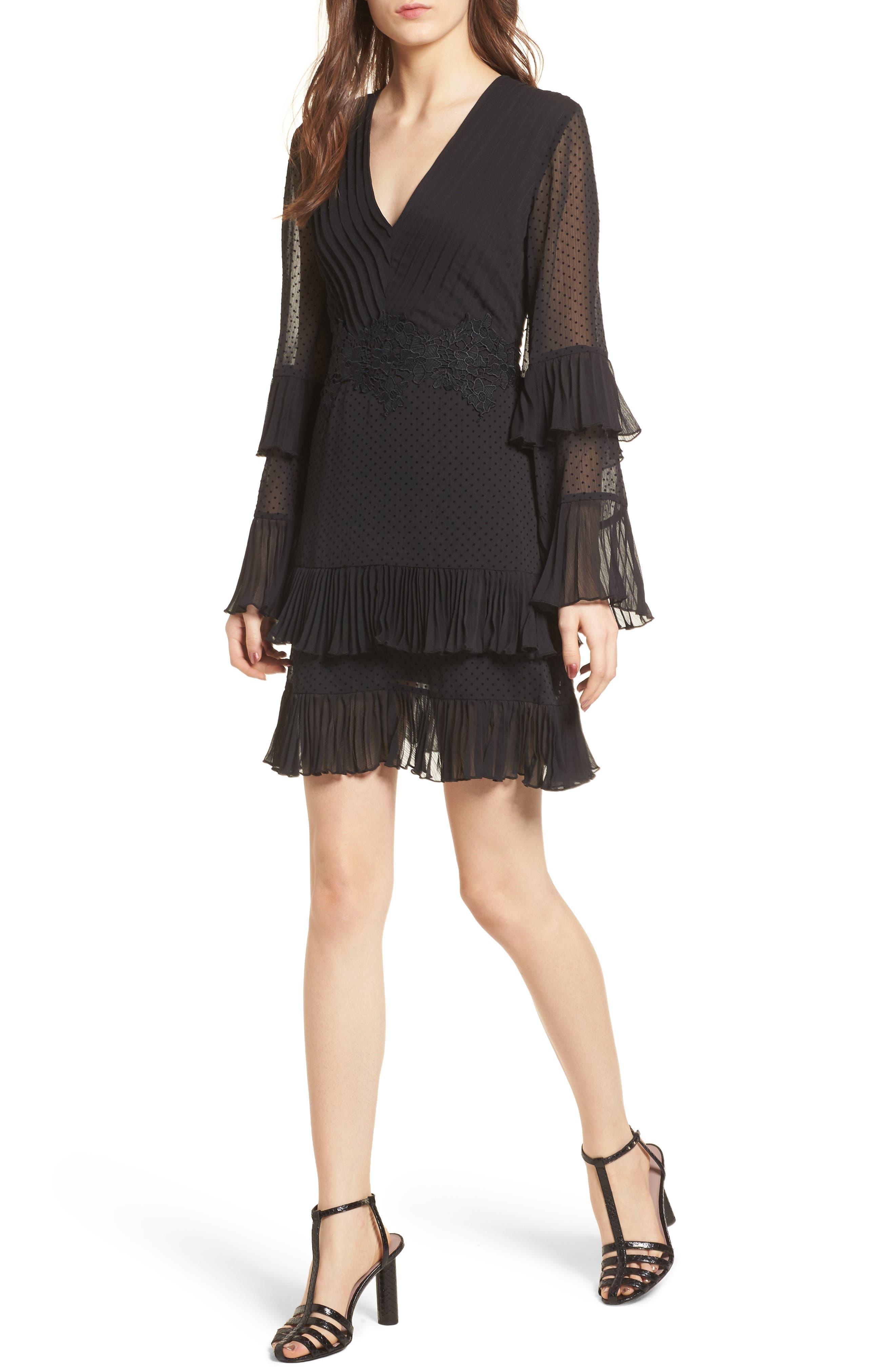 Horizons Bell Sleeve Minidress,                             Main thumbnail 1, color,                             Black