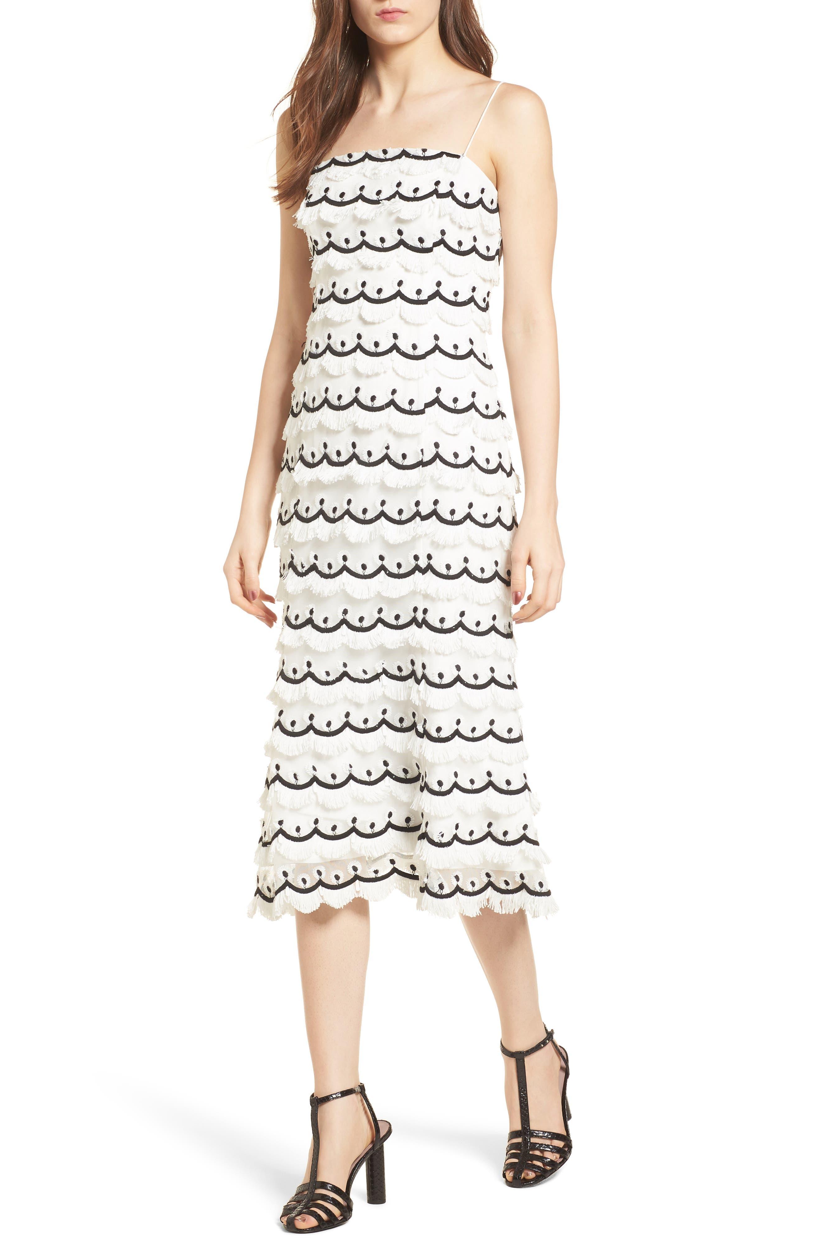 No Promises Fringe Midi Dress,                         Main,                         color, Ivory